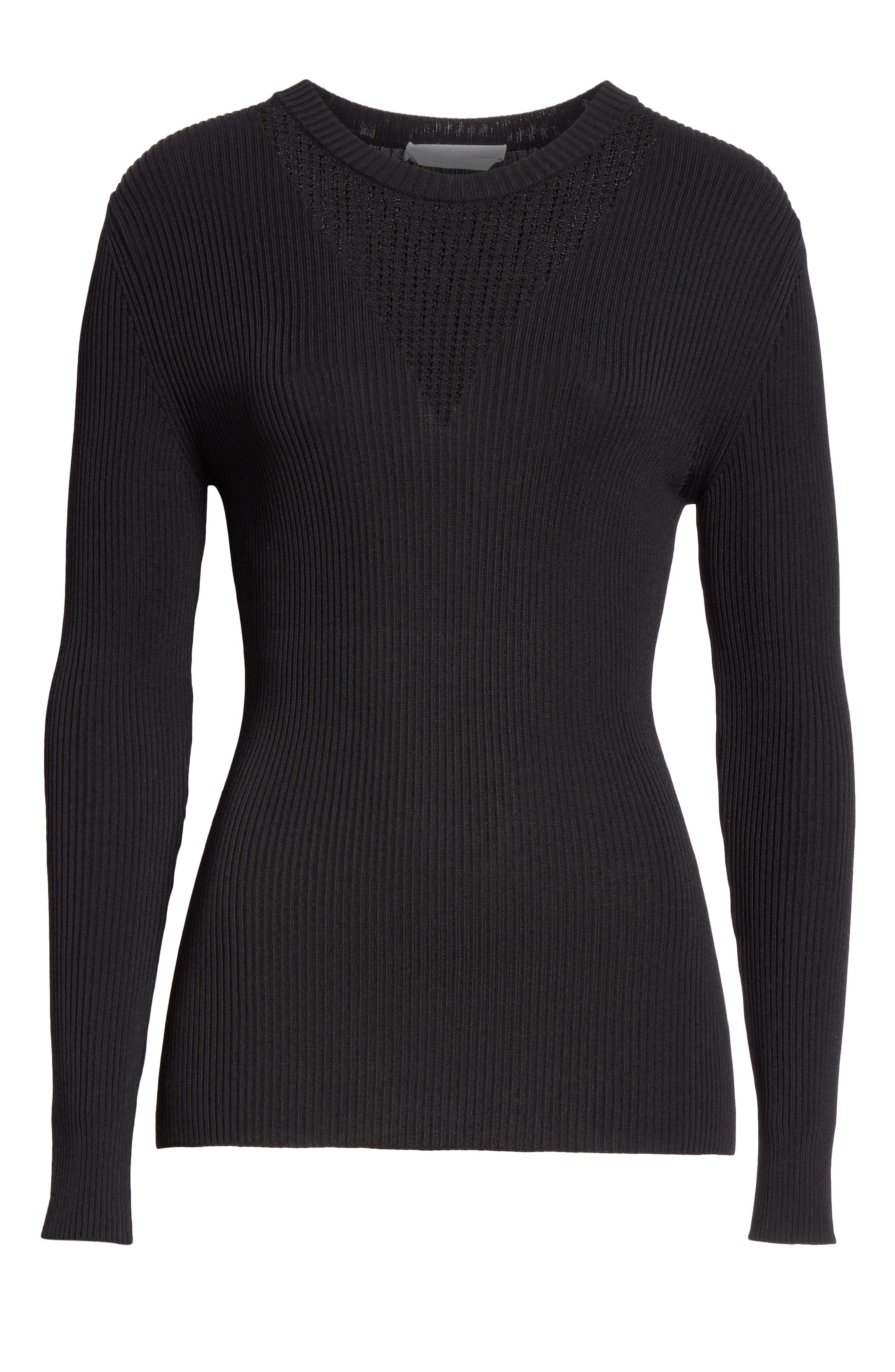 BOSS,                             Febecca Ribbed Sweater,                             Alternate thumbnail 6, color,                             BLACK
