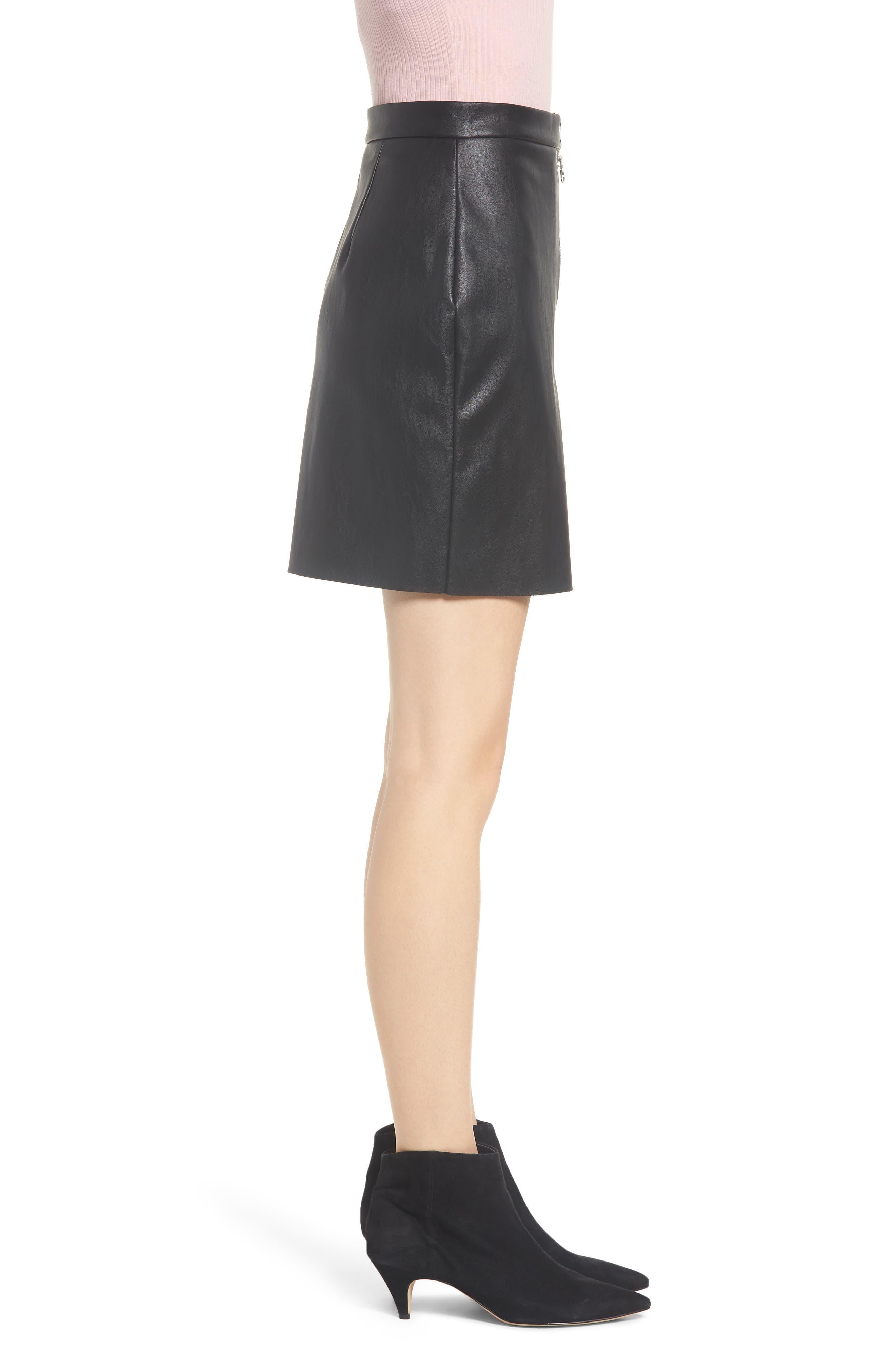 Exposed Zip Miniskirt,                             Alternate thumbnail 3, color,                             001