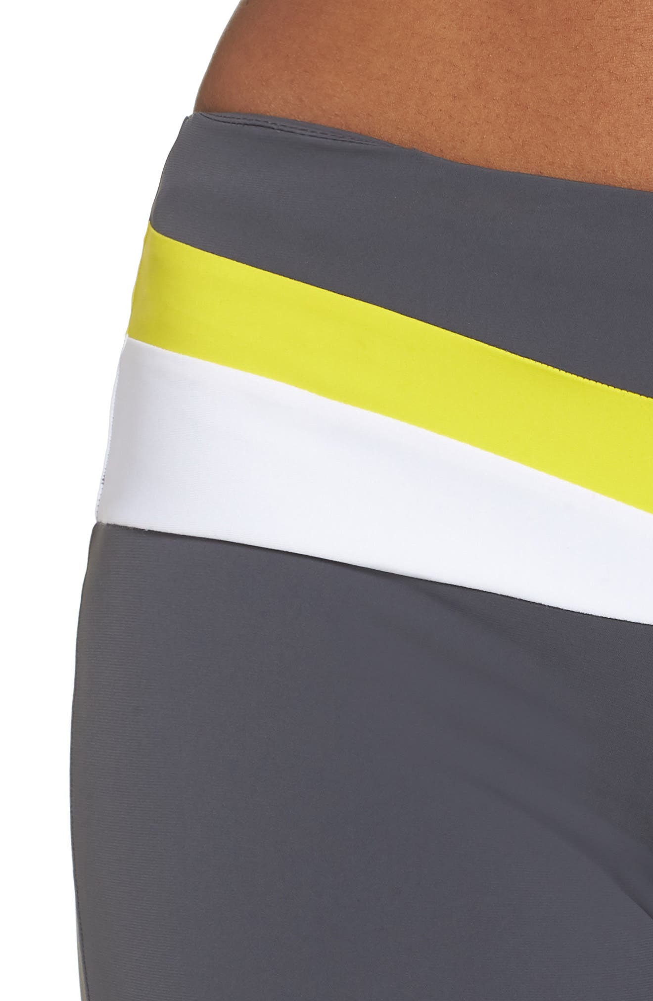BoomBoom Athletica Tricolor Leggings,                             Alternate thumbnail 4, color,                             GREY/ WHITE/ YELLOW