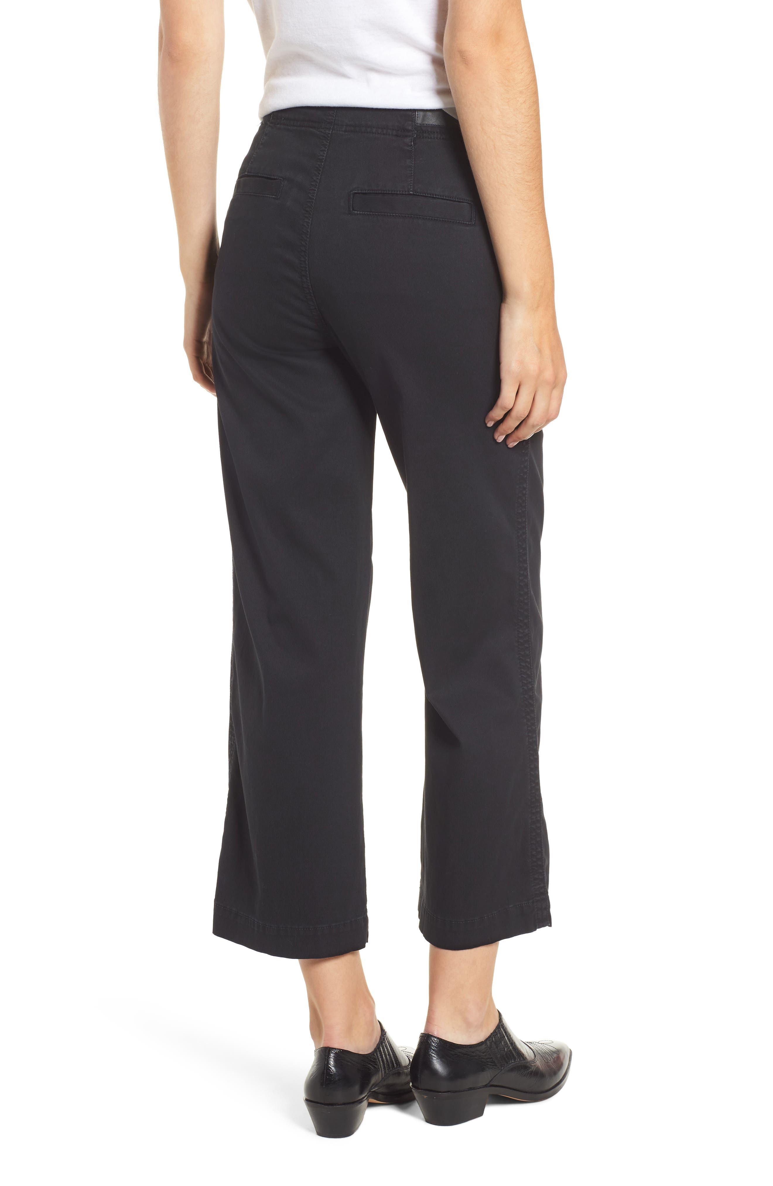 Etta High Waist Crop Wide Leg Jeans,                             Alternate thumbnail 2, color,                             SULFUR SUPER BLACK