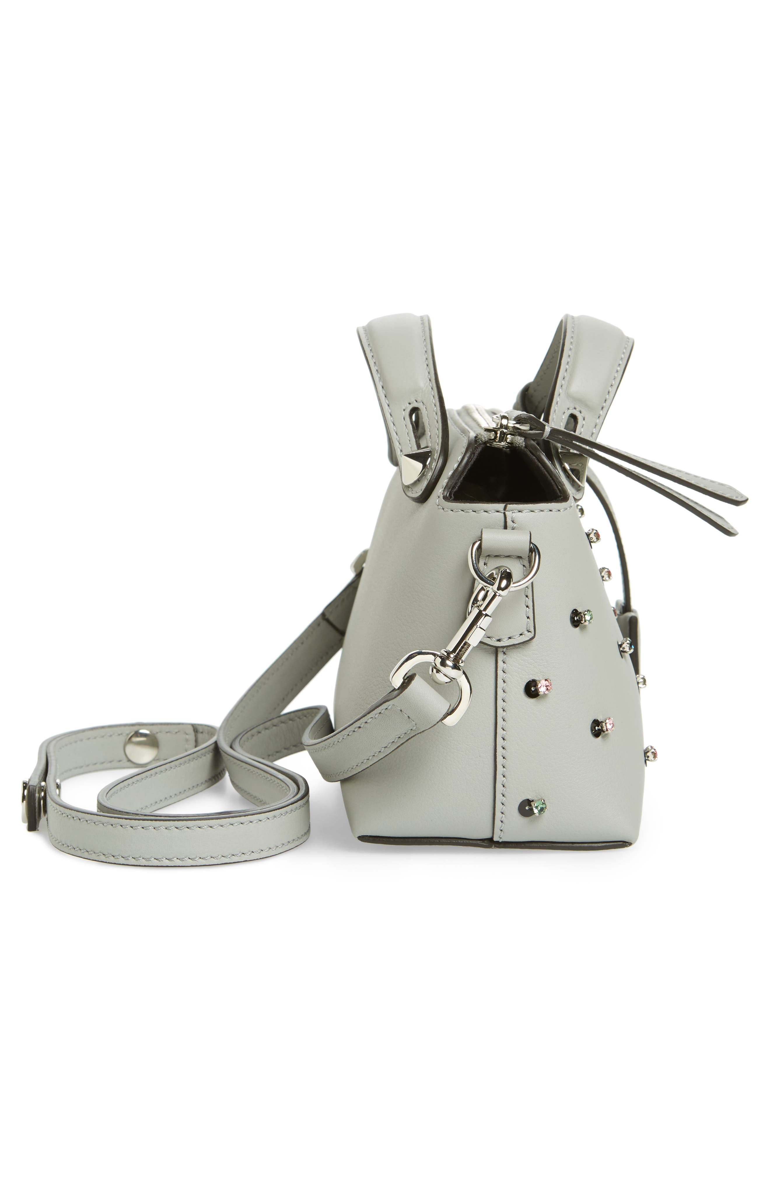 Mini By the Way Crystal Embellished Convertible Leather Crossbody Bag,                             Alternate thumbnail 5, color,                             050