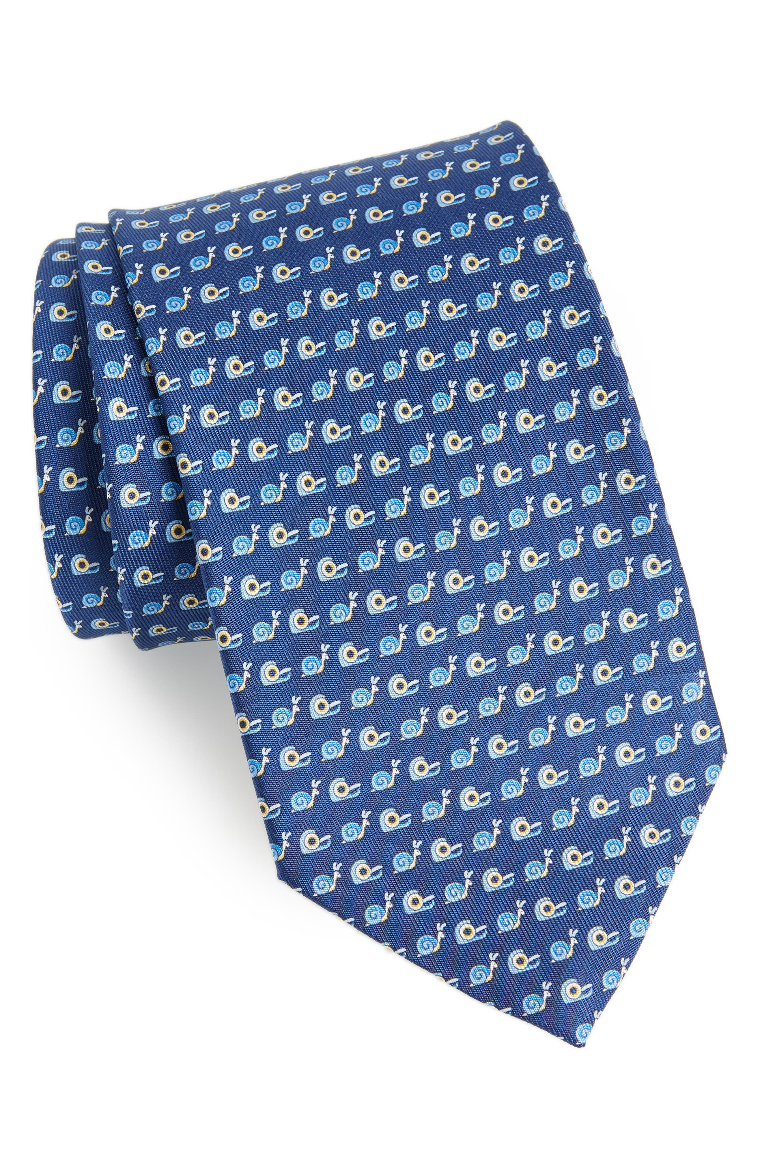 Fancy Print Silk Tie,                         Main,                         color, BLUE
