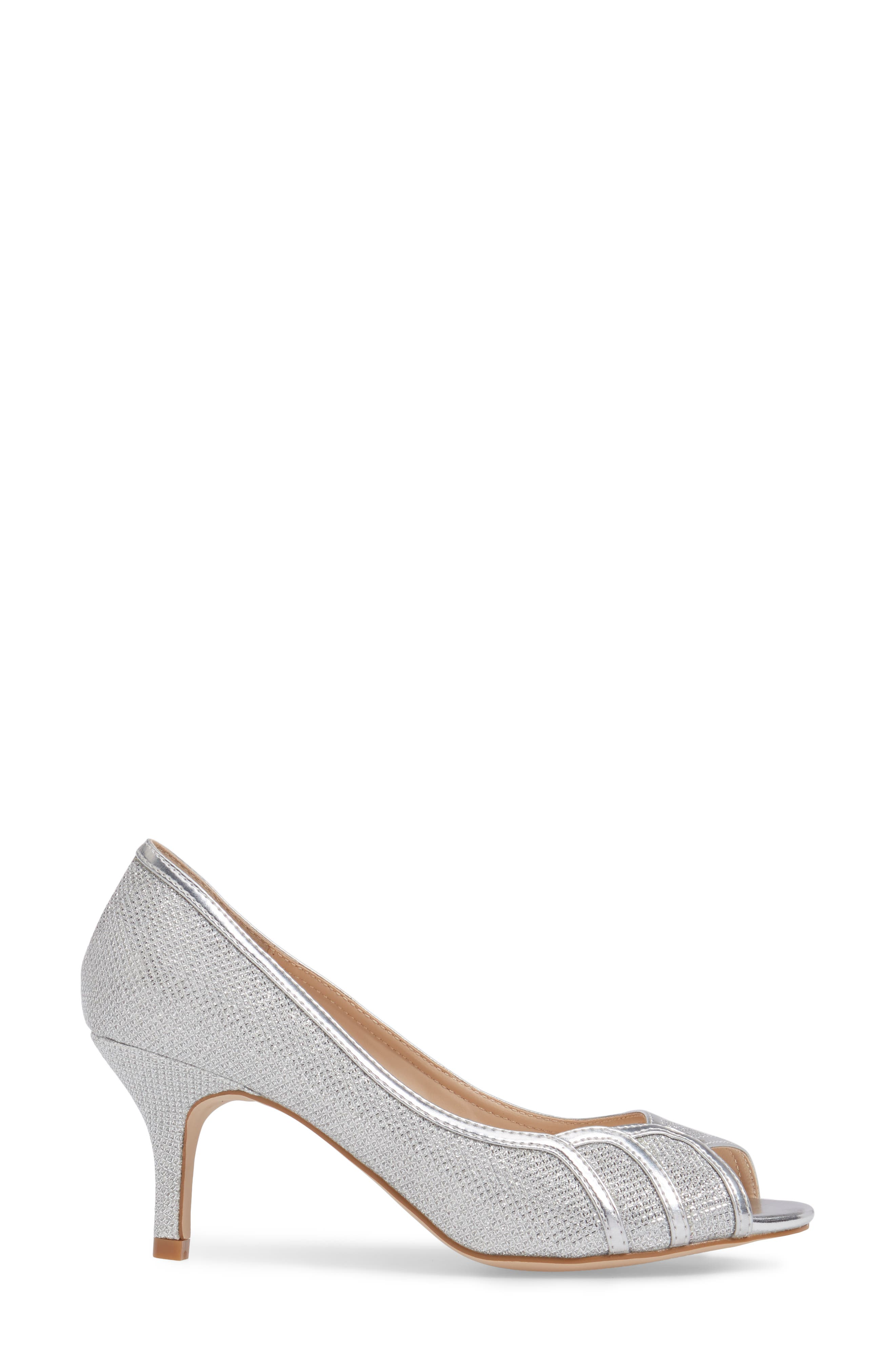Chester Peep Toe Pump,                             Alternate thumbnail 3, color,                             SILVER
