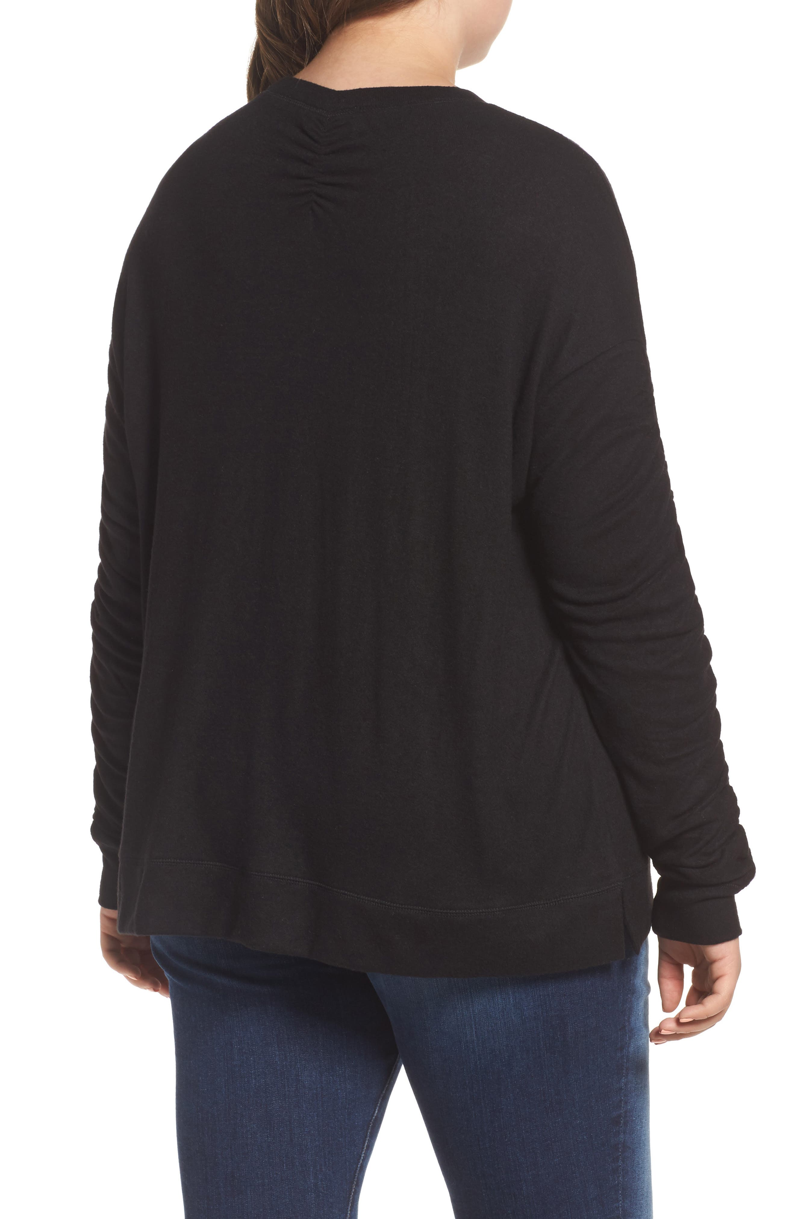 Ruched Sleeve Cozy Pullover,                             Alternate thumbnail 2, color,                             001