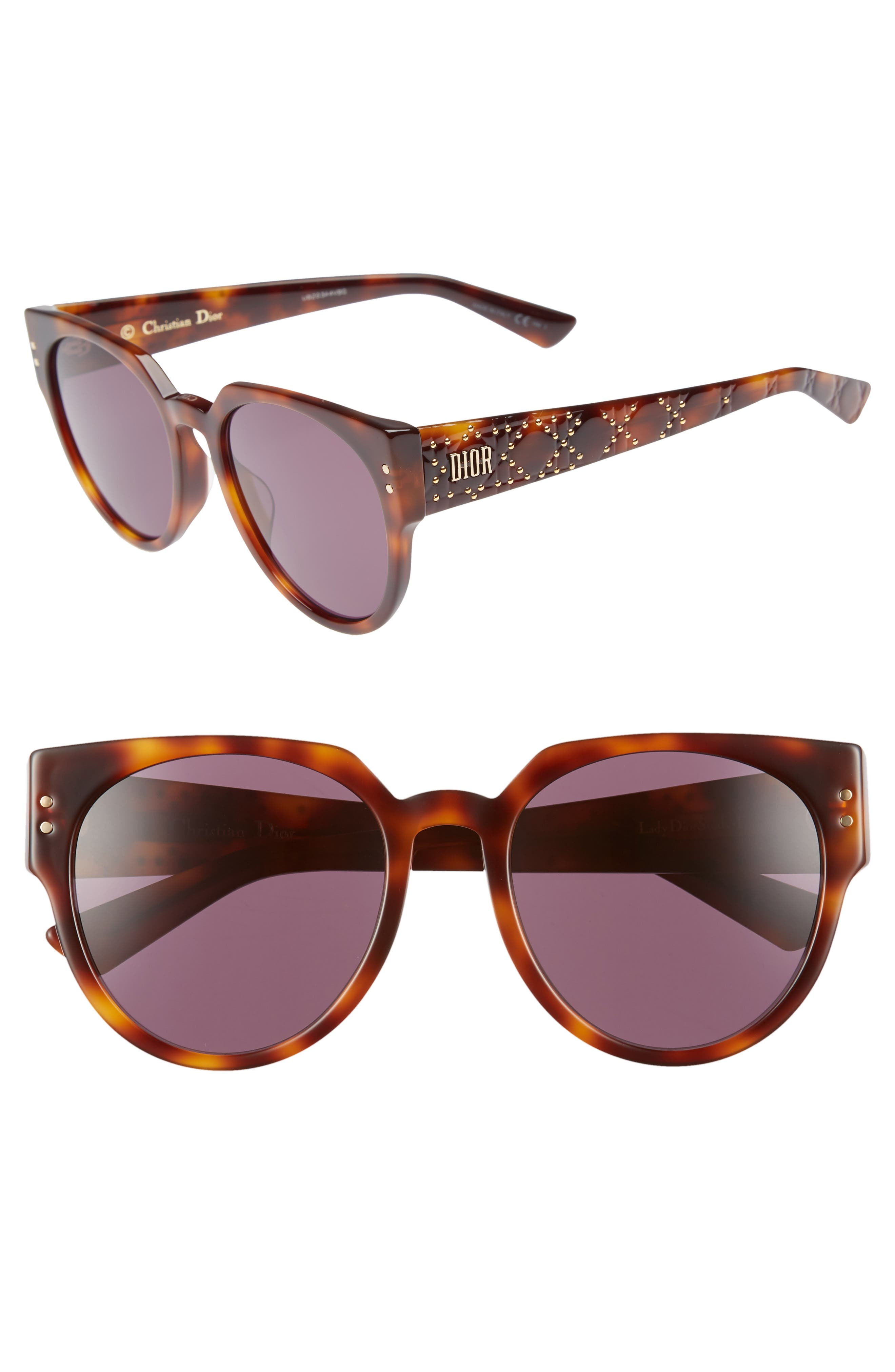 Lady Dior 54mm Special Fit Polarized Cat Eye Sunglasses, Main, color, DARK HAVANA