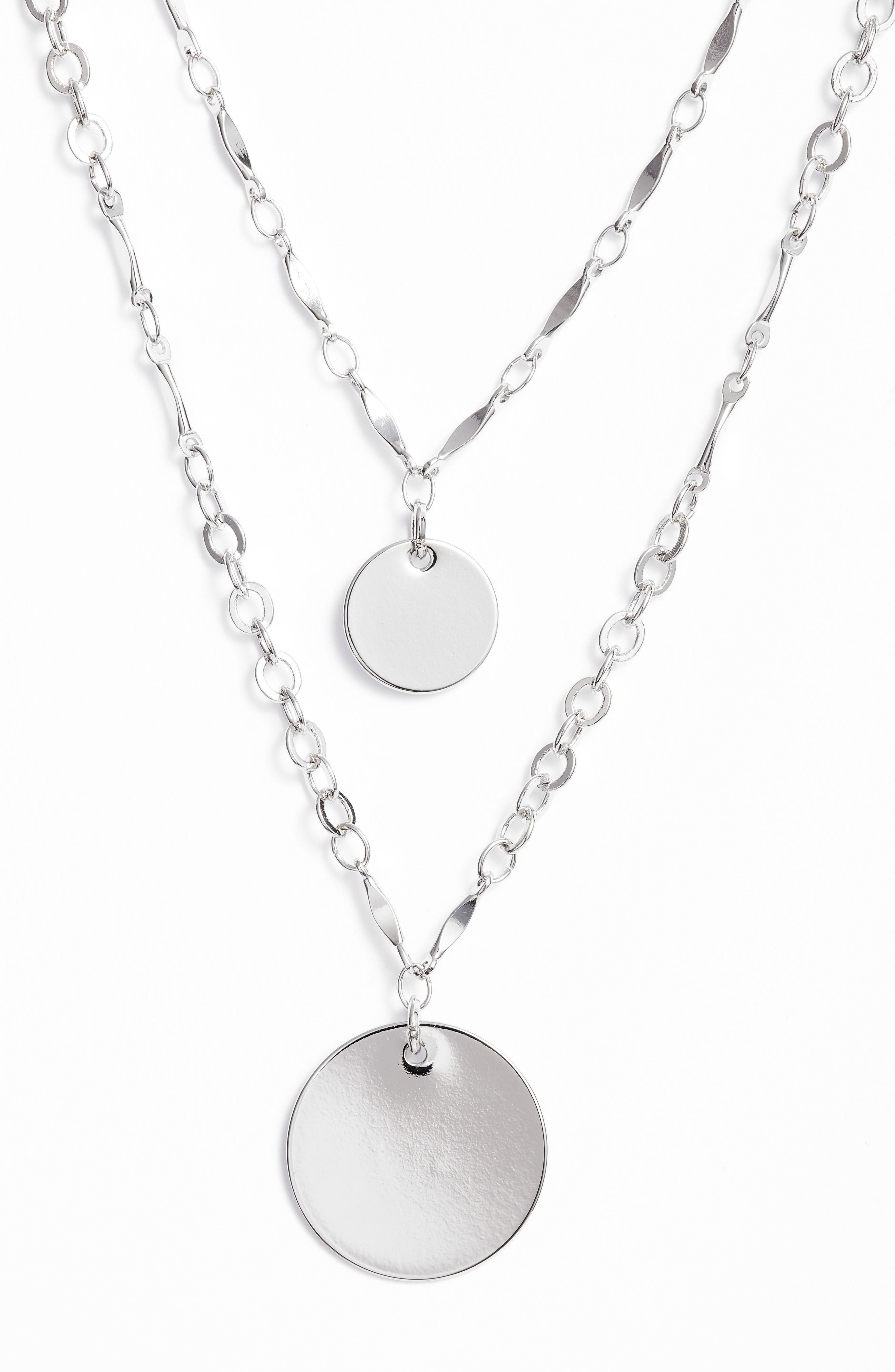 Two-in-One Double Disc Pendant Necklace,                             Alternate thumbnail 3, color,
