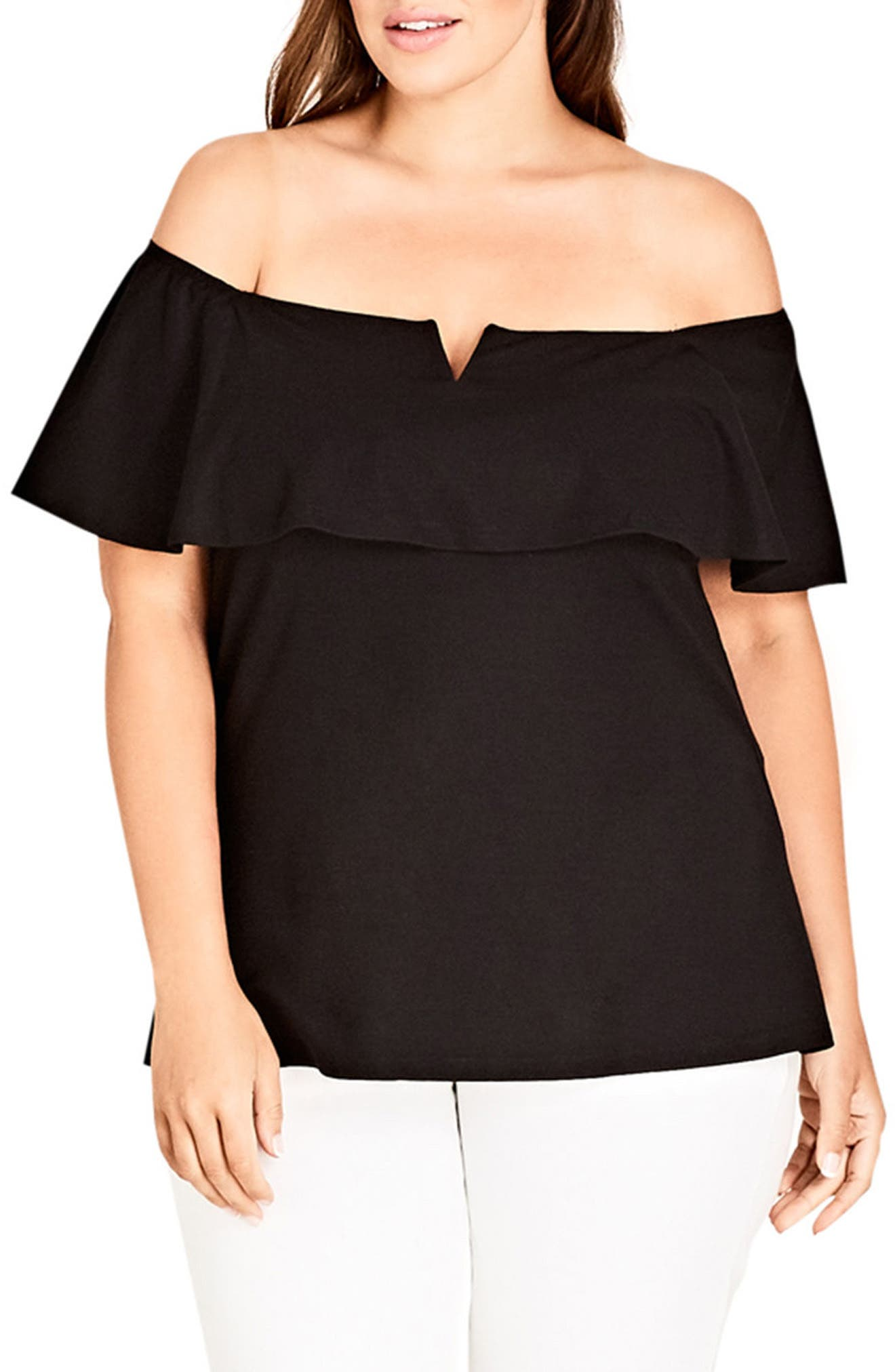 Camellia Off the Shoulder Ruffle Top,                             Main thumbnail 1, color,                             001