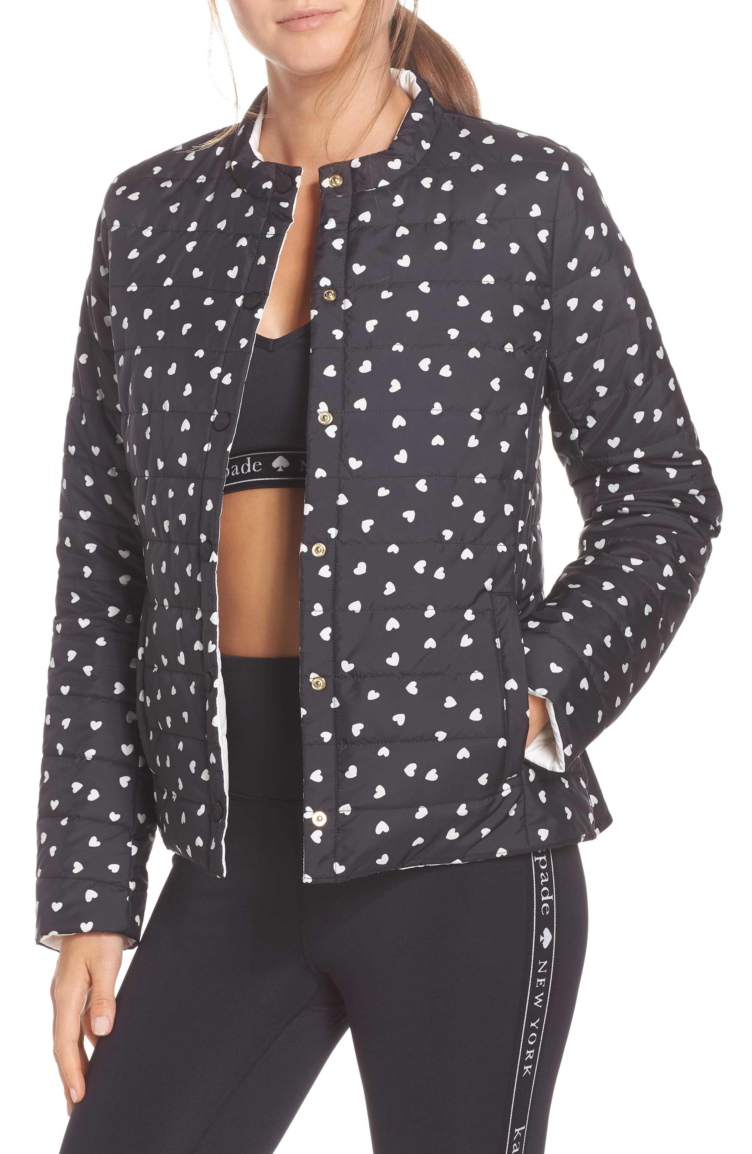KATE SPADE NEW YORK ruffle reversible quilted jacket, Main, color, 001