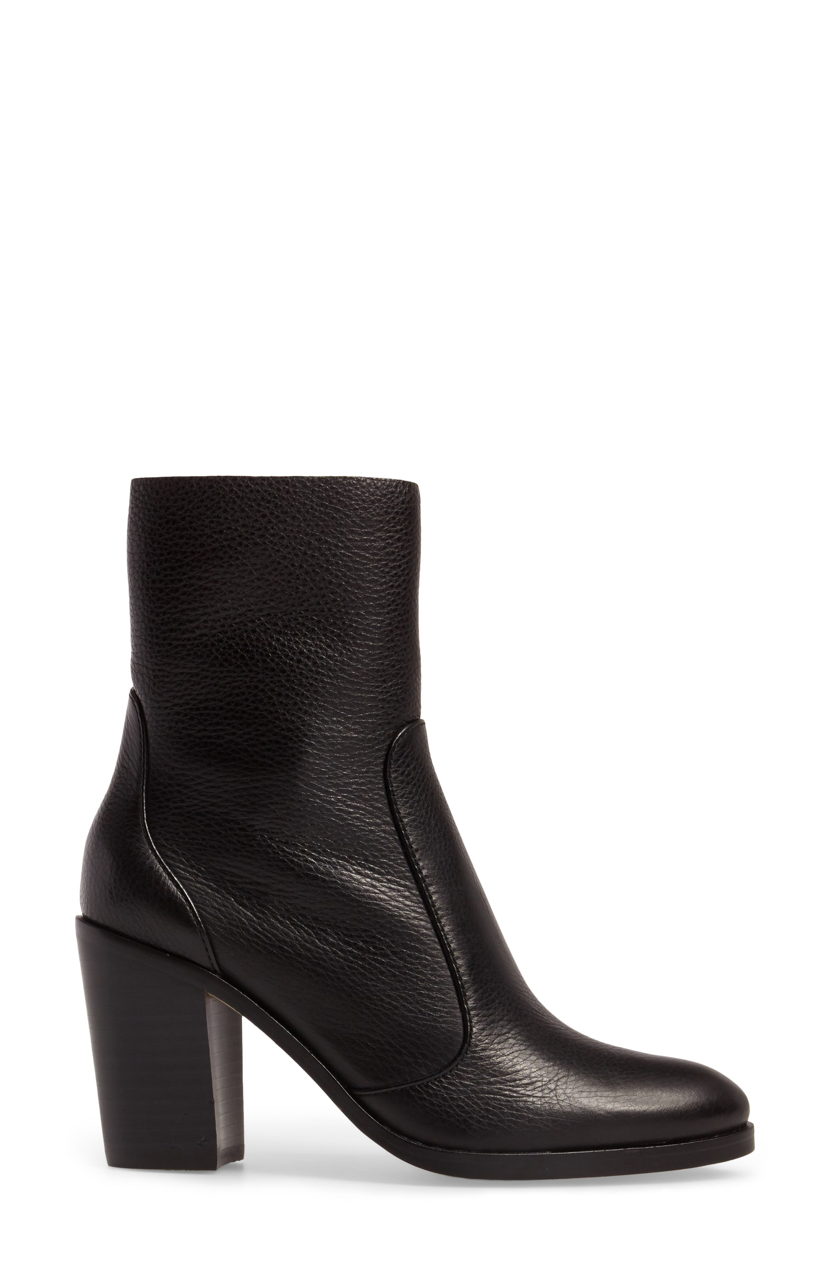 Roselyn Bootie,                             Alternate thumbnail 3, color,                             BLACK LEATHER