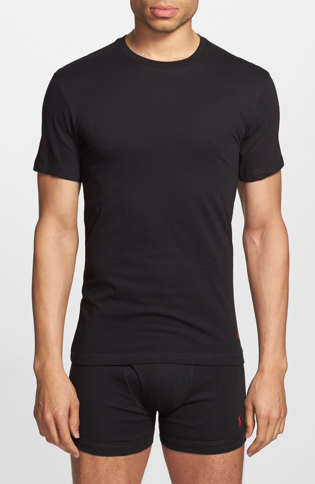 3-Pack Slim Fit T-Shirt,                             Alternate thumbnail 4, color,                             BLACK/ GREY/ CHARCOAL
