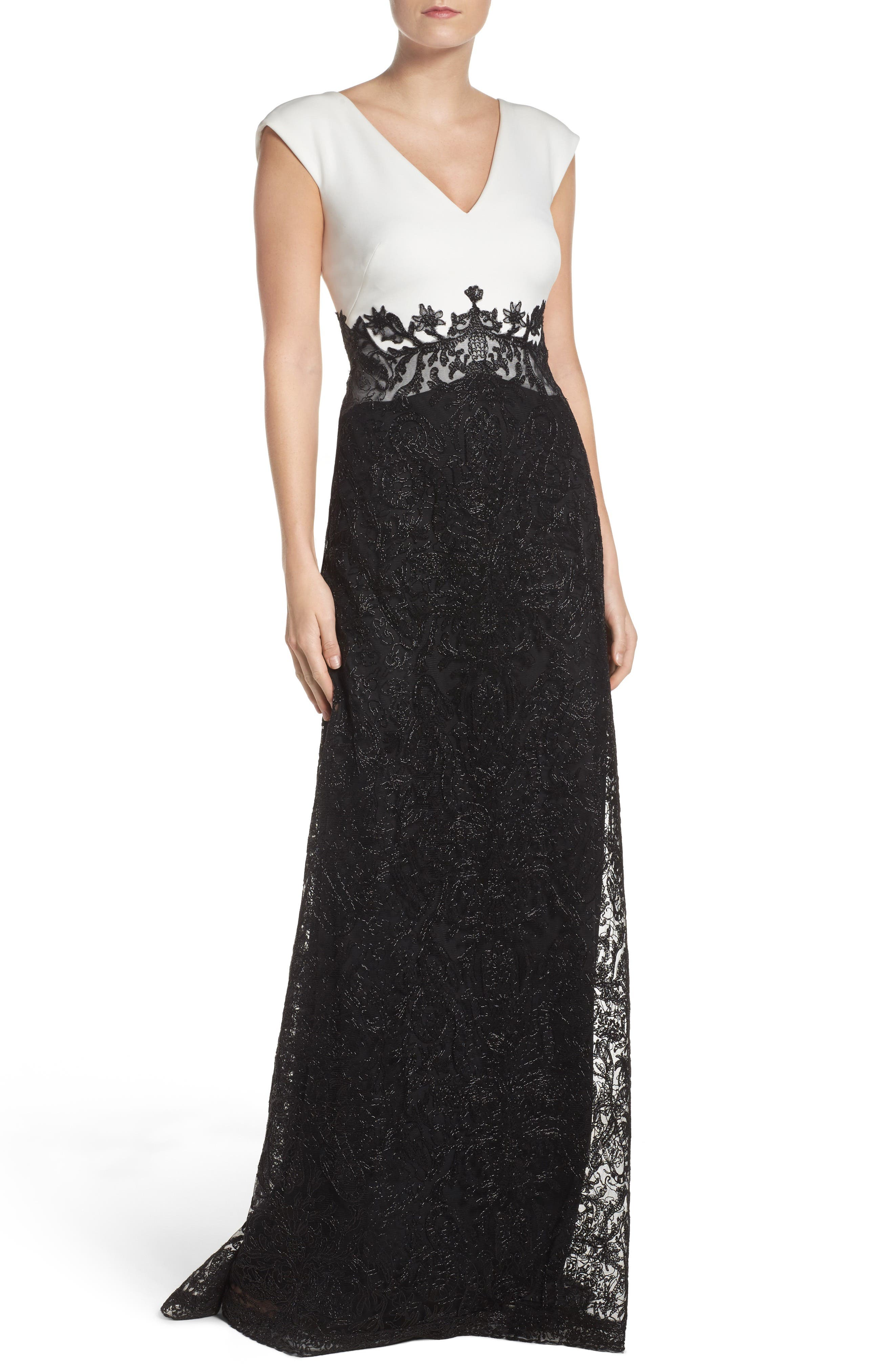 Two-Tone Gown,                             Main thumbnail 1, color,                             001