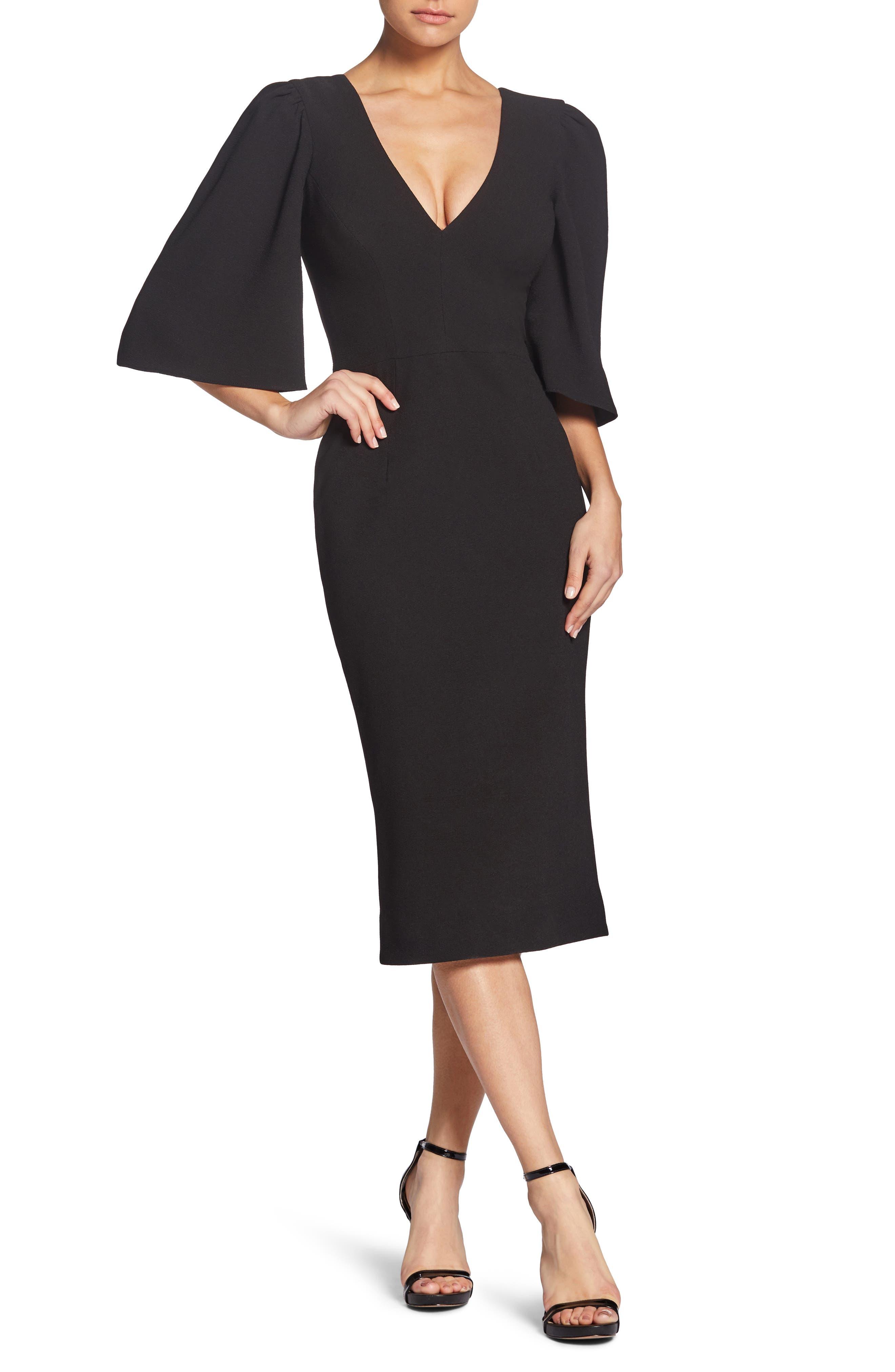 Dress The Population Coco Plunging Crepe Tea Length Dress, Black