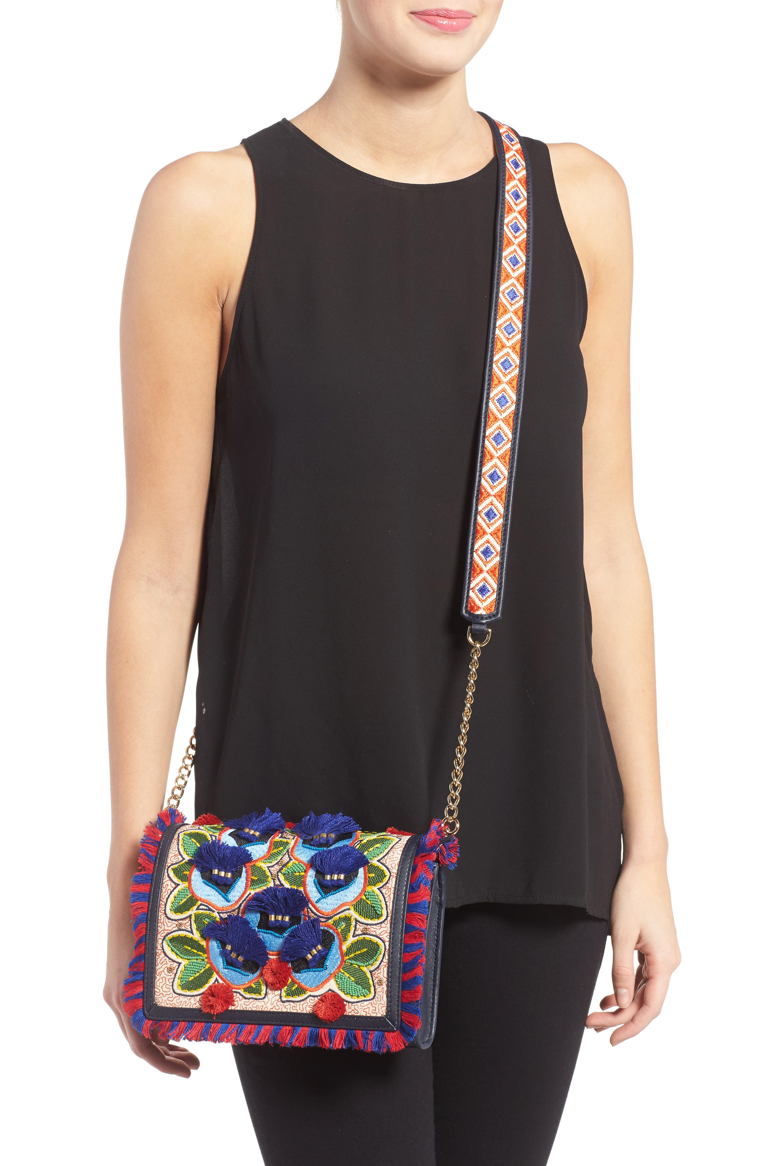 Embroidered Floral Crossbody Bag,                             Alternate thumbnail 3, color,                             400