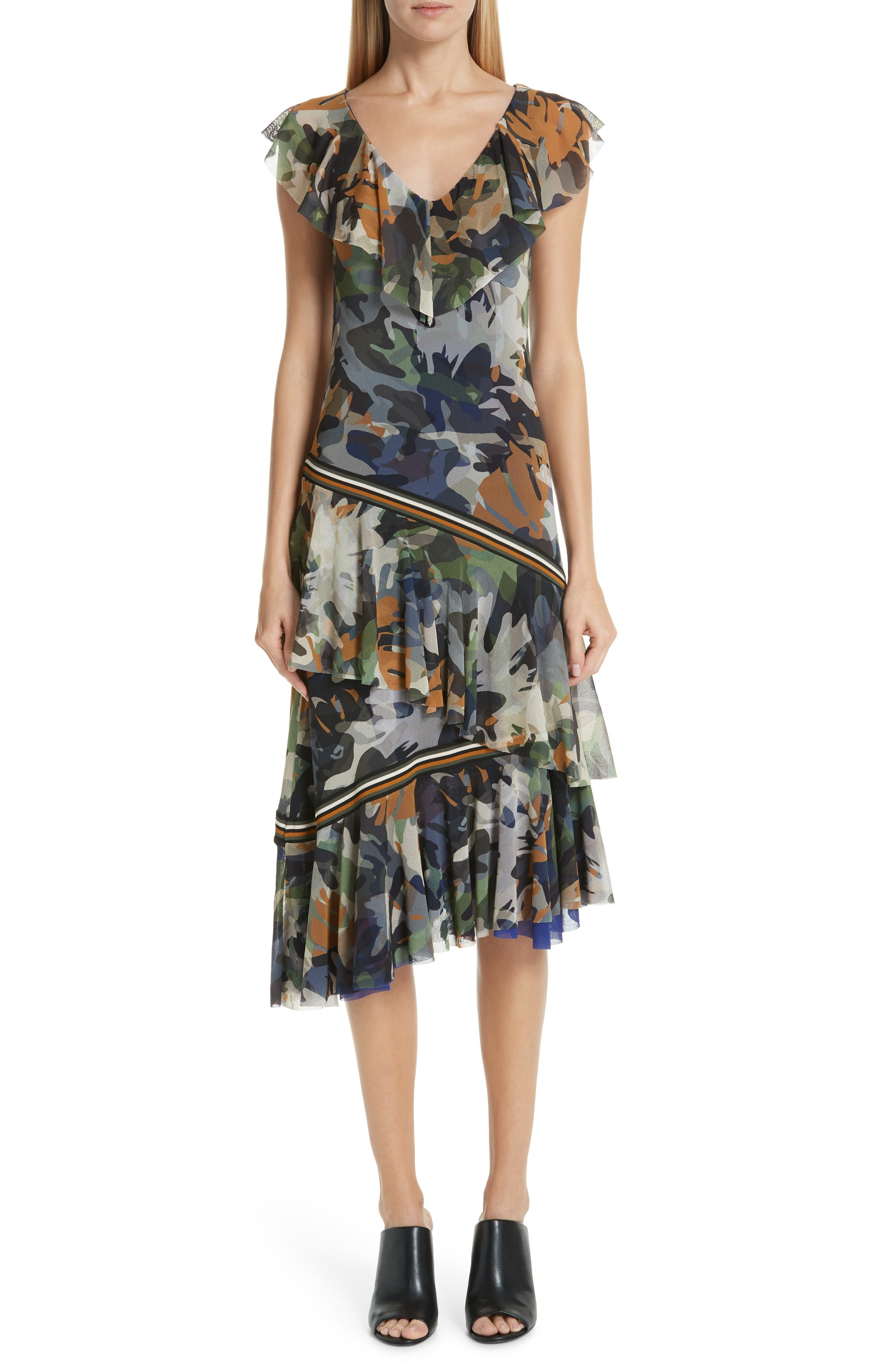 Fuzzi Camo Print Tulle Ruffle Dress, Grey
