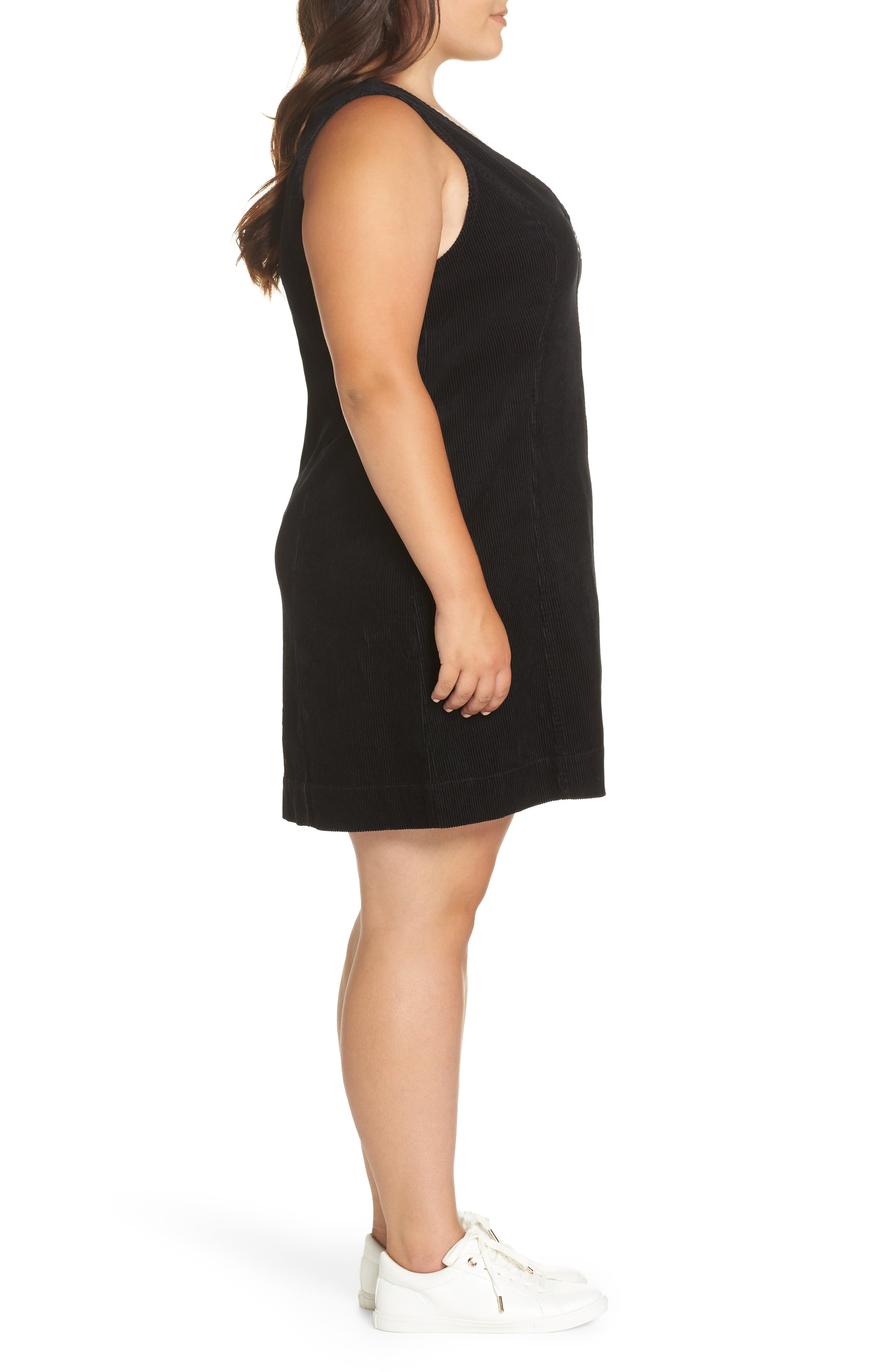 Corduroy Pinafore Dress,                             Alternate thumbnail 3, color,                             BLACK