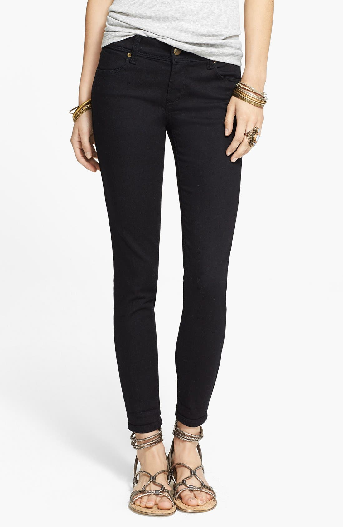 'Roller' Crop Skinny Jeans,                             Main thumbnail 1, color,                             001