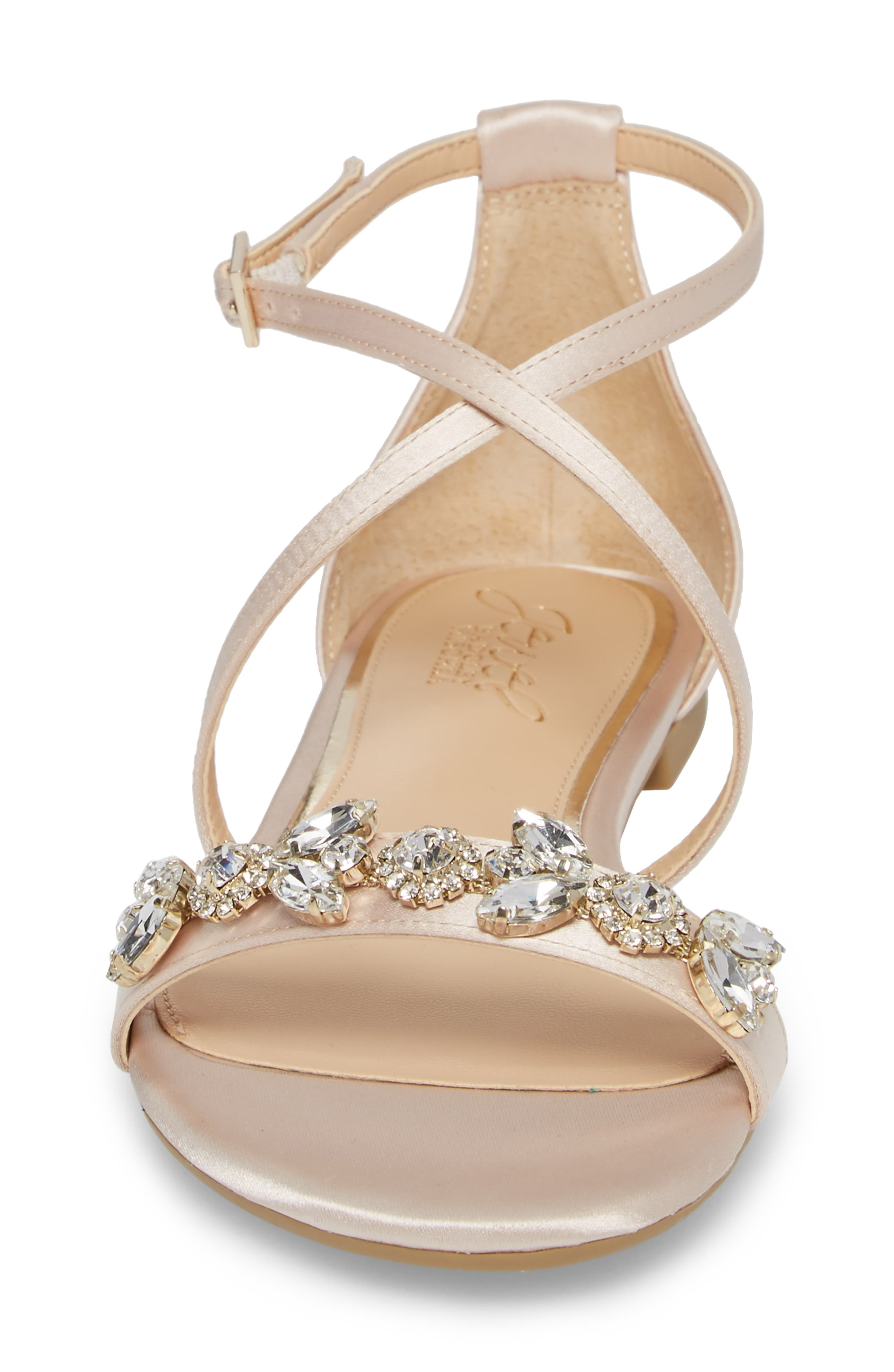 Tessy Embellished Sandal,                             Alternate thumbnail 4, color,                             CHAMPAGNE SATIN