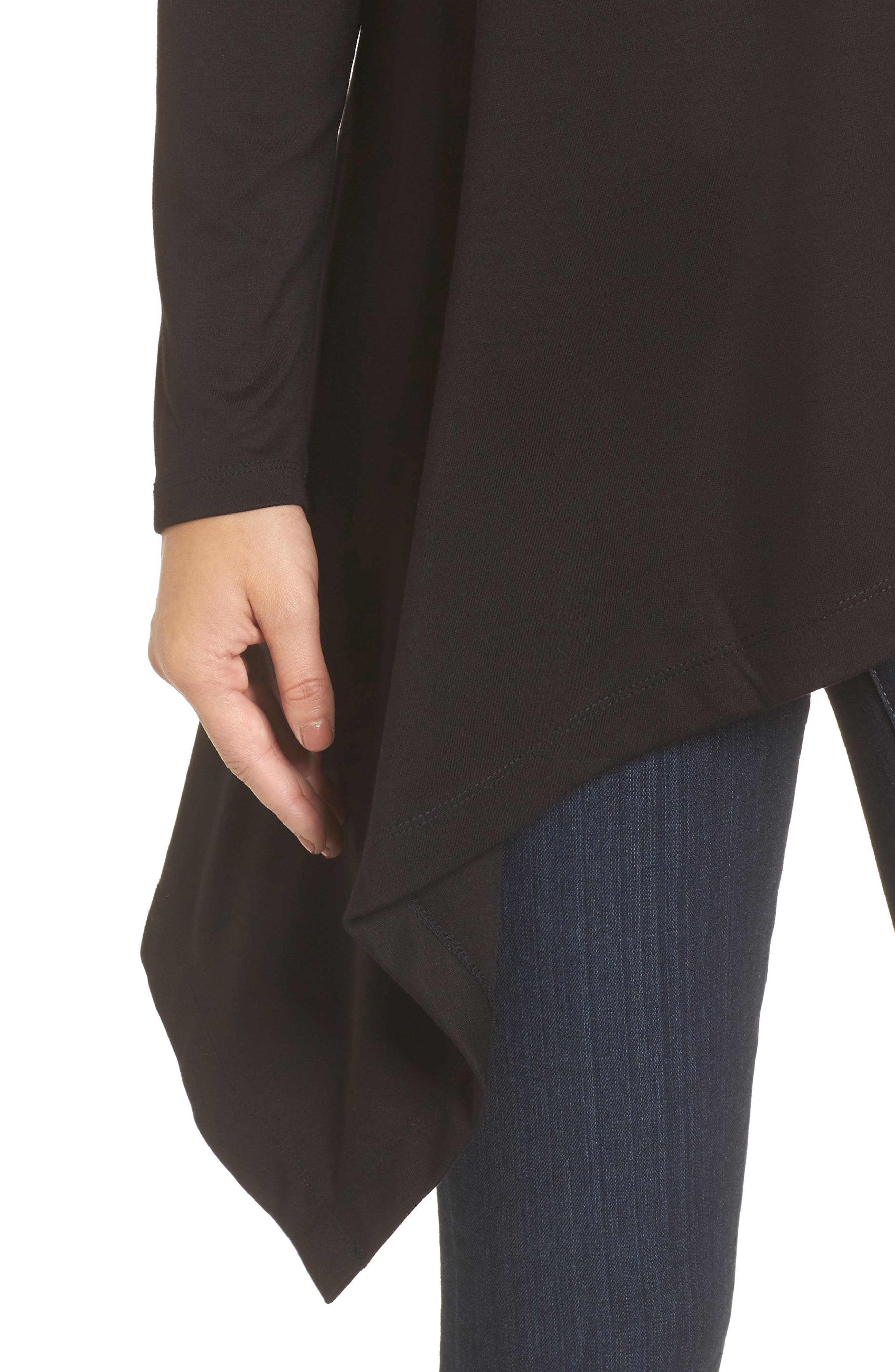 Boatneck Asymmetrical Tunic,                             Alternate thumbnail 4, color,                             BLACK