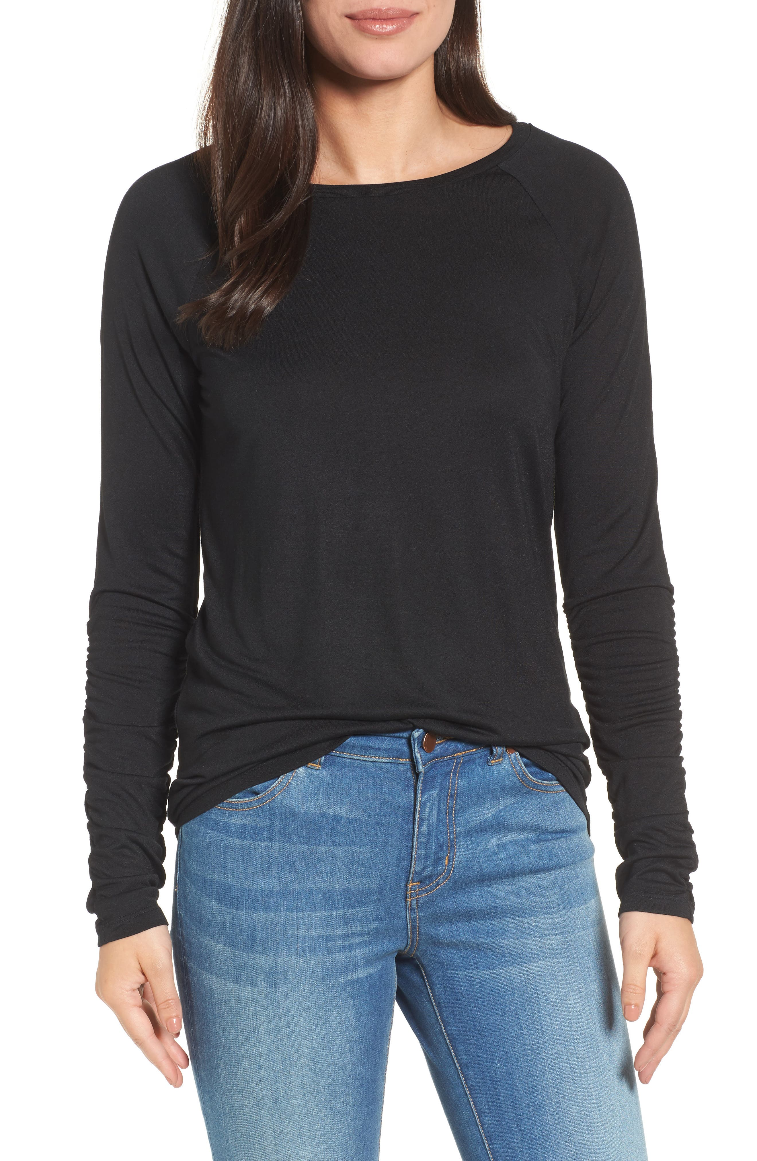 Ruched Sleeve Tee,                             Main thumbnail 1, color,                             001