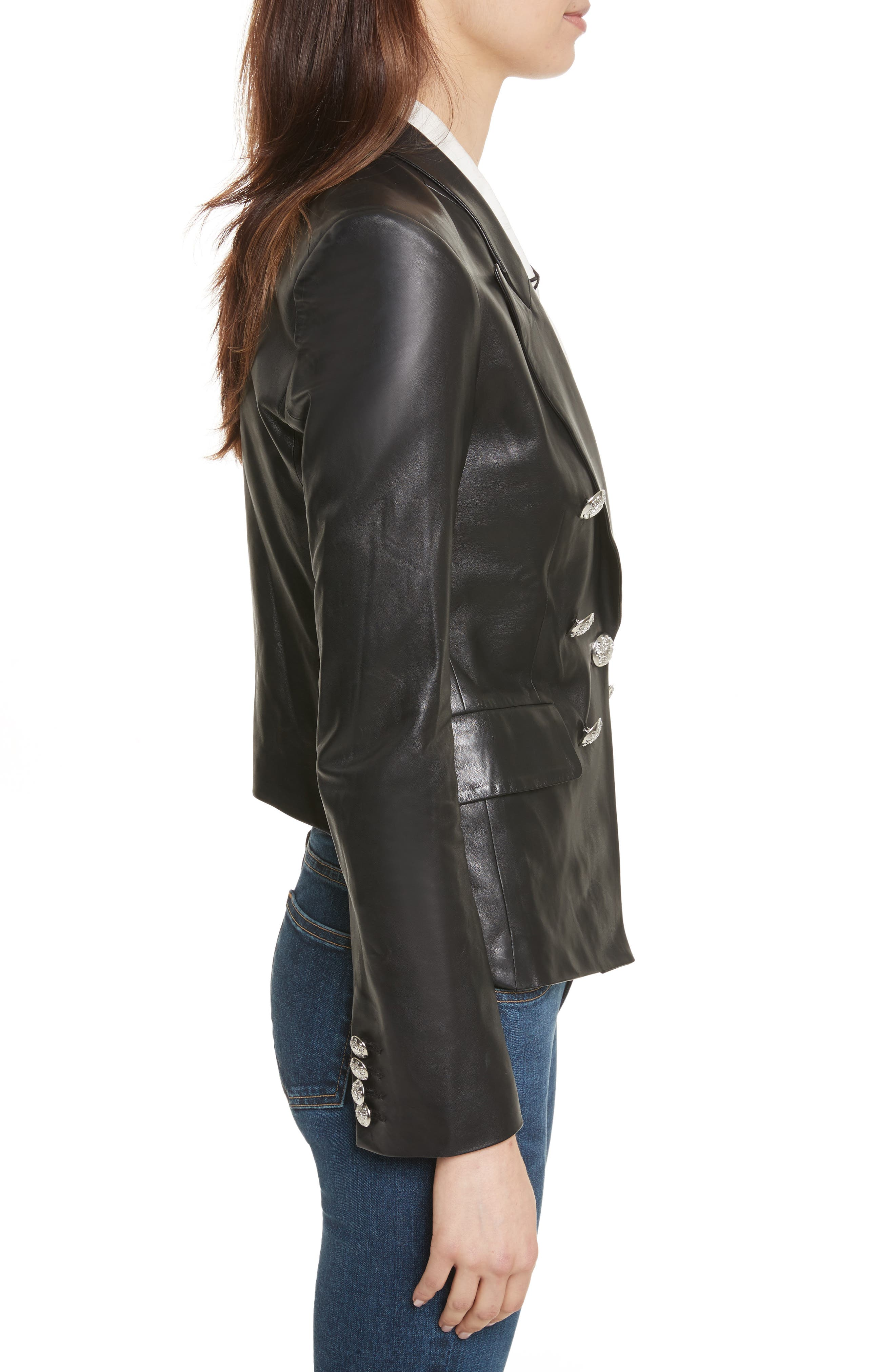 Cooke Leather Jacket,                             Alternate thumbnail 3, color,                             001