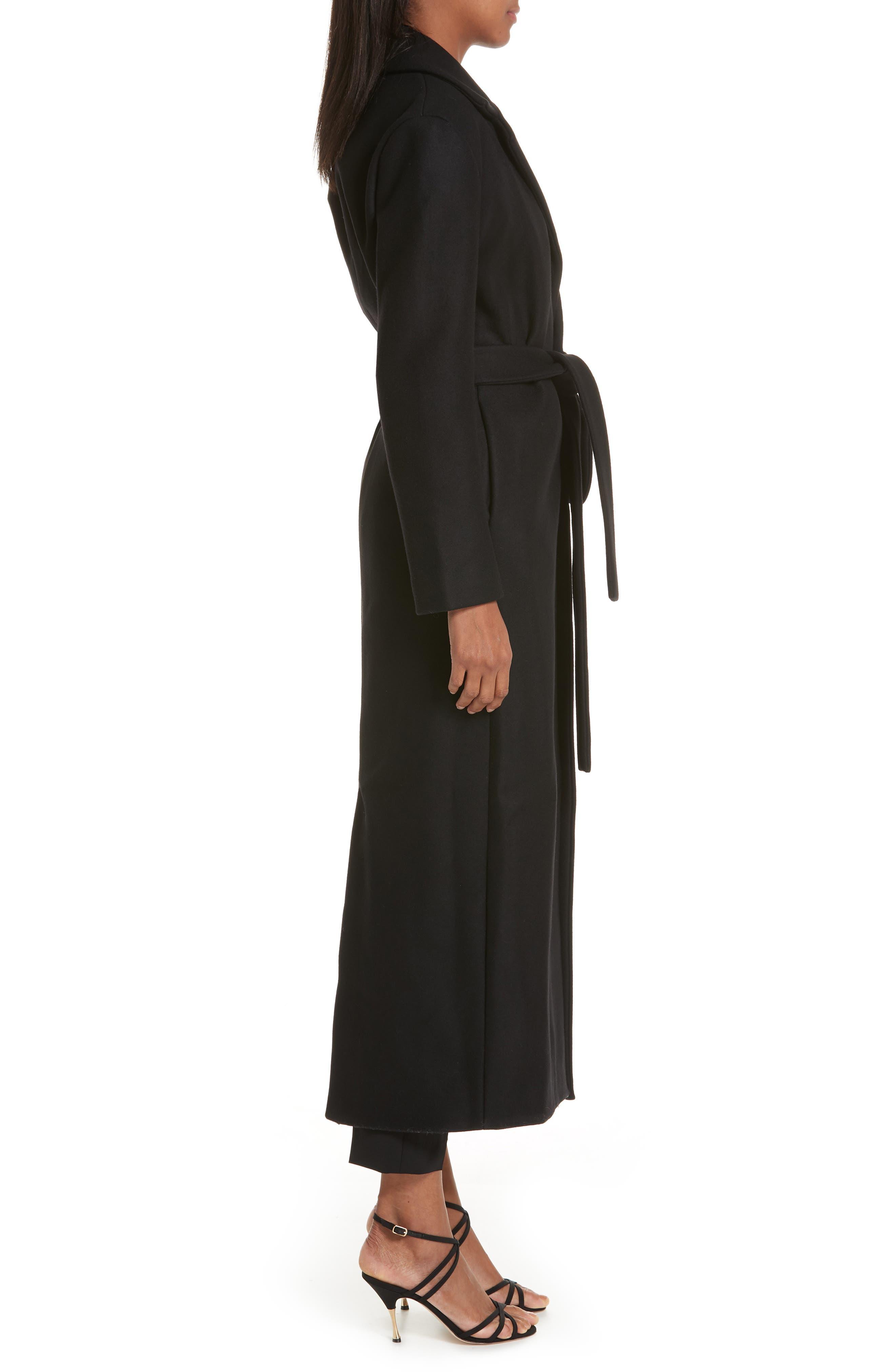 Le Manteau Aissa Belted Wool Blend Coat,                             Alternate thumbnail 3, color,                             001