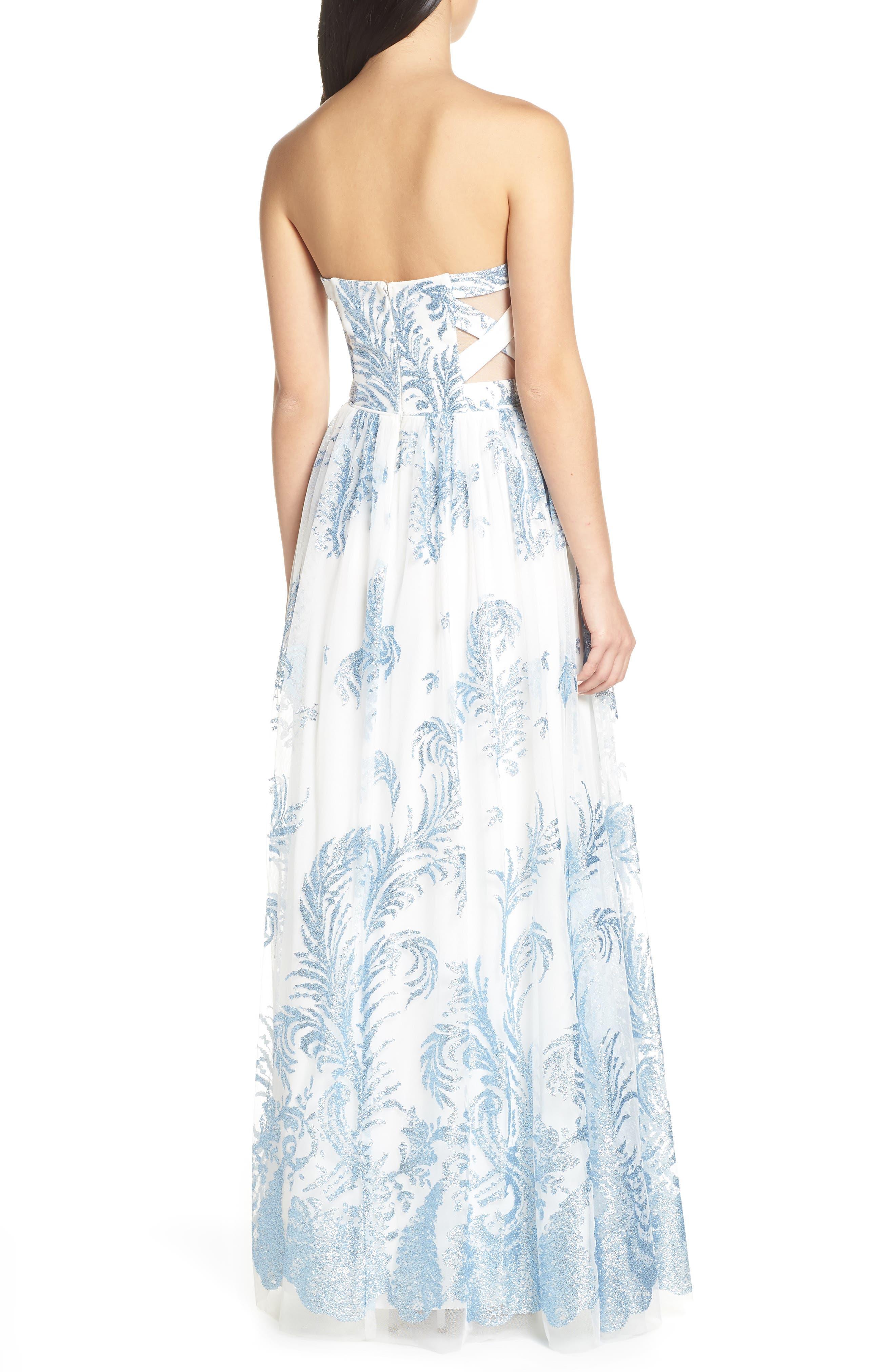 Strapless Glitter Mesh Evening Dress,                             Alternate thumbnail 2, color,                             IVORY/ BLUE