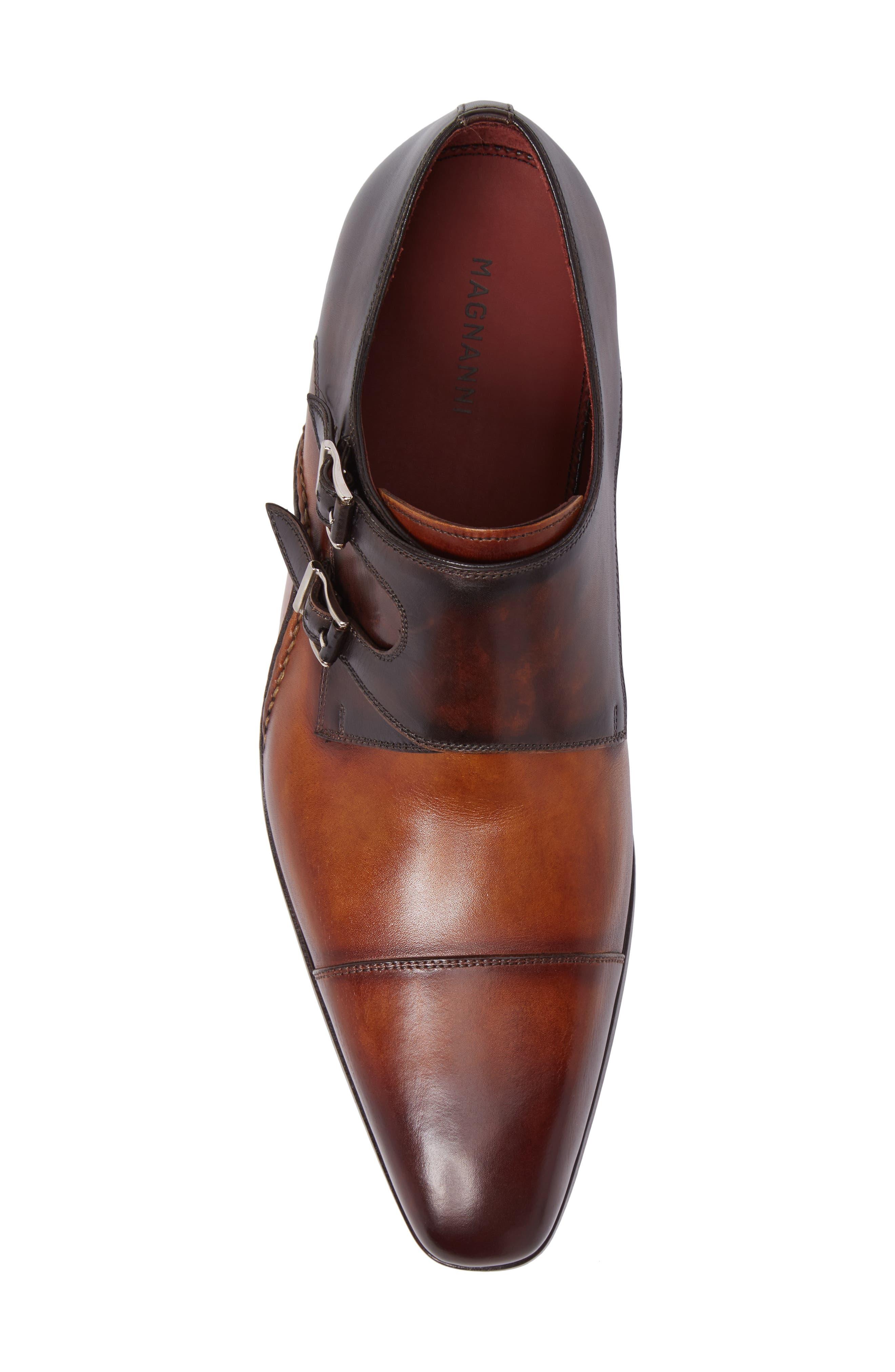 MAGNANNI,                             Ondara Double Monk Strap Shoe,                             Alternate thumbnail 5, color,                             CUERO/ BROWN LEATHER