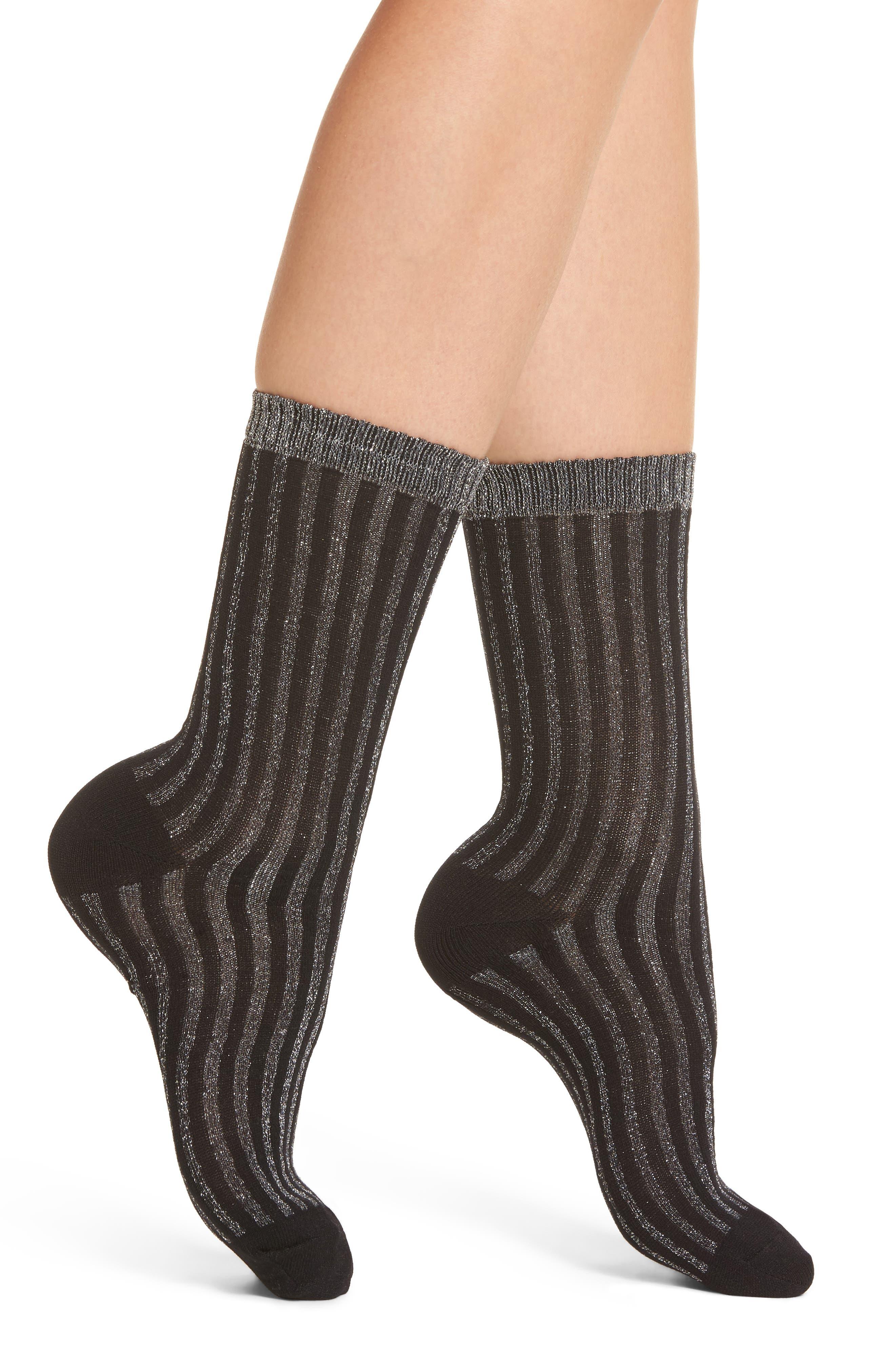 Metallic Stripe Crew Socks,                             Main thumbnail 2, color,