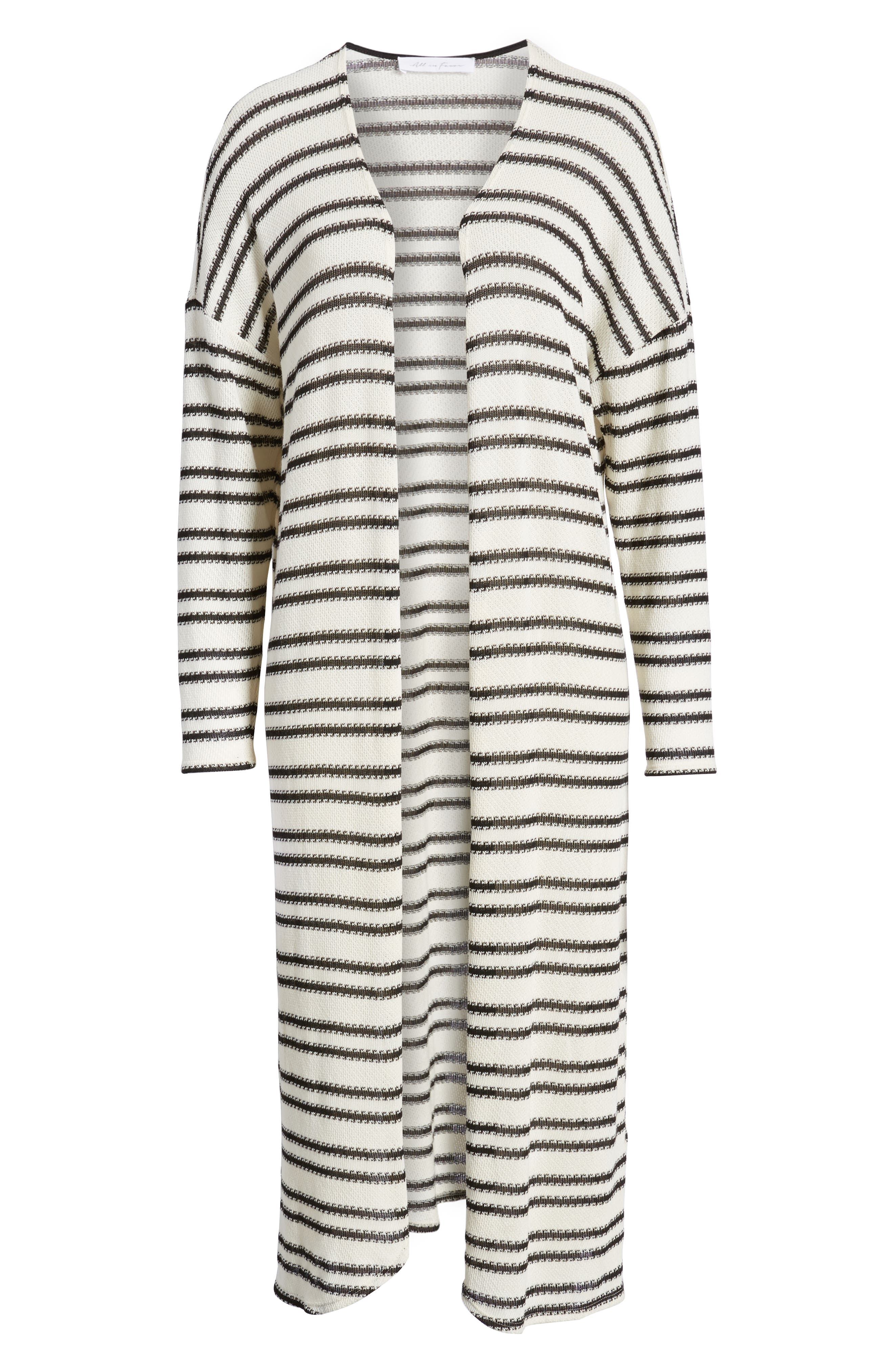 ALL IN FAVOR,                             Stripe Longline Cardigan,                             Alternate thumbnail 6, color,                             900