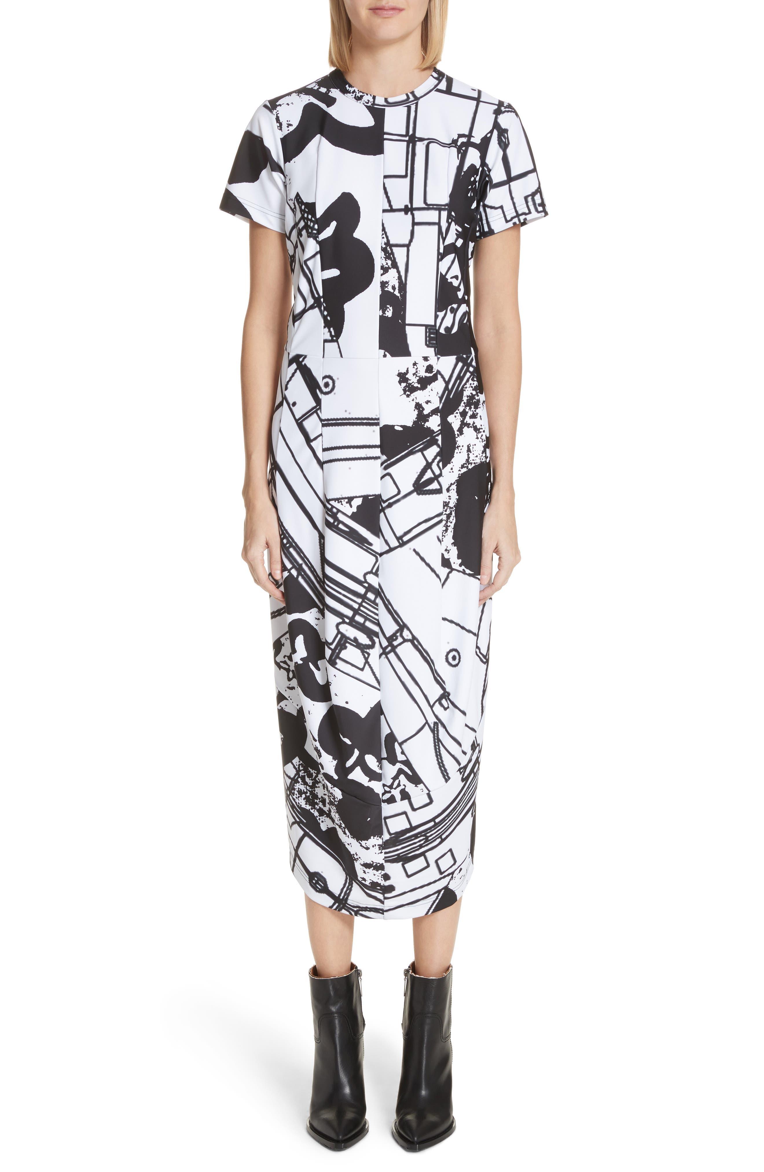 Graffiti Print T-Shirt Dress,                             Main thumbnail 1, color,                             100