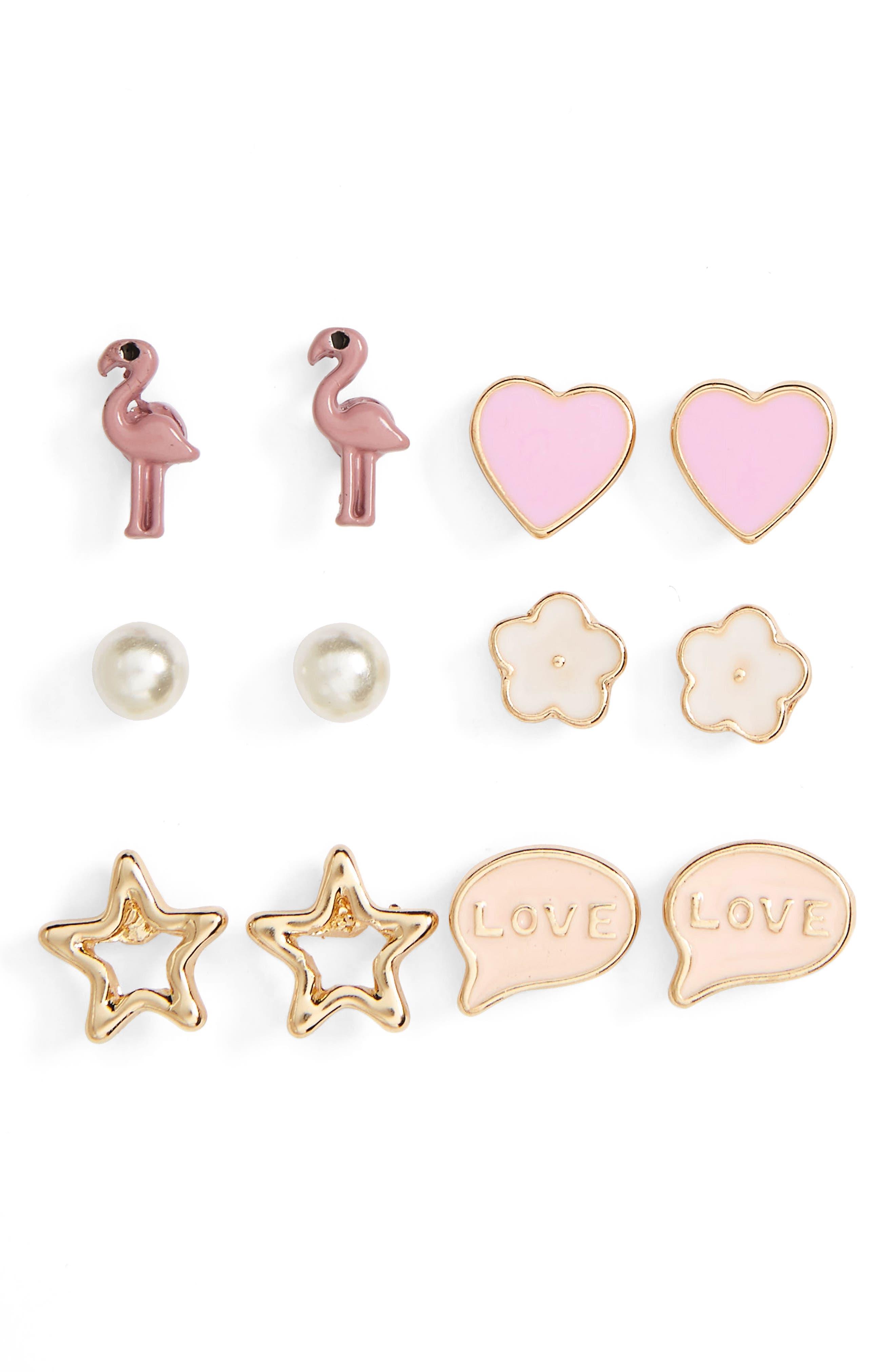 Flamingo 6-Pack Stud Earrings,                             Main thumbnail 1, color,                             650