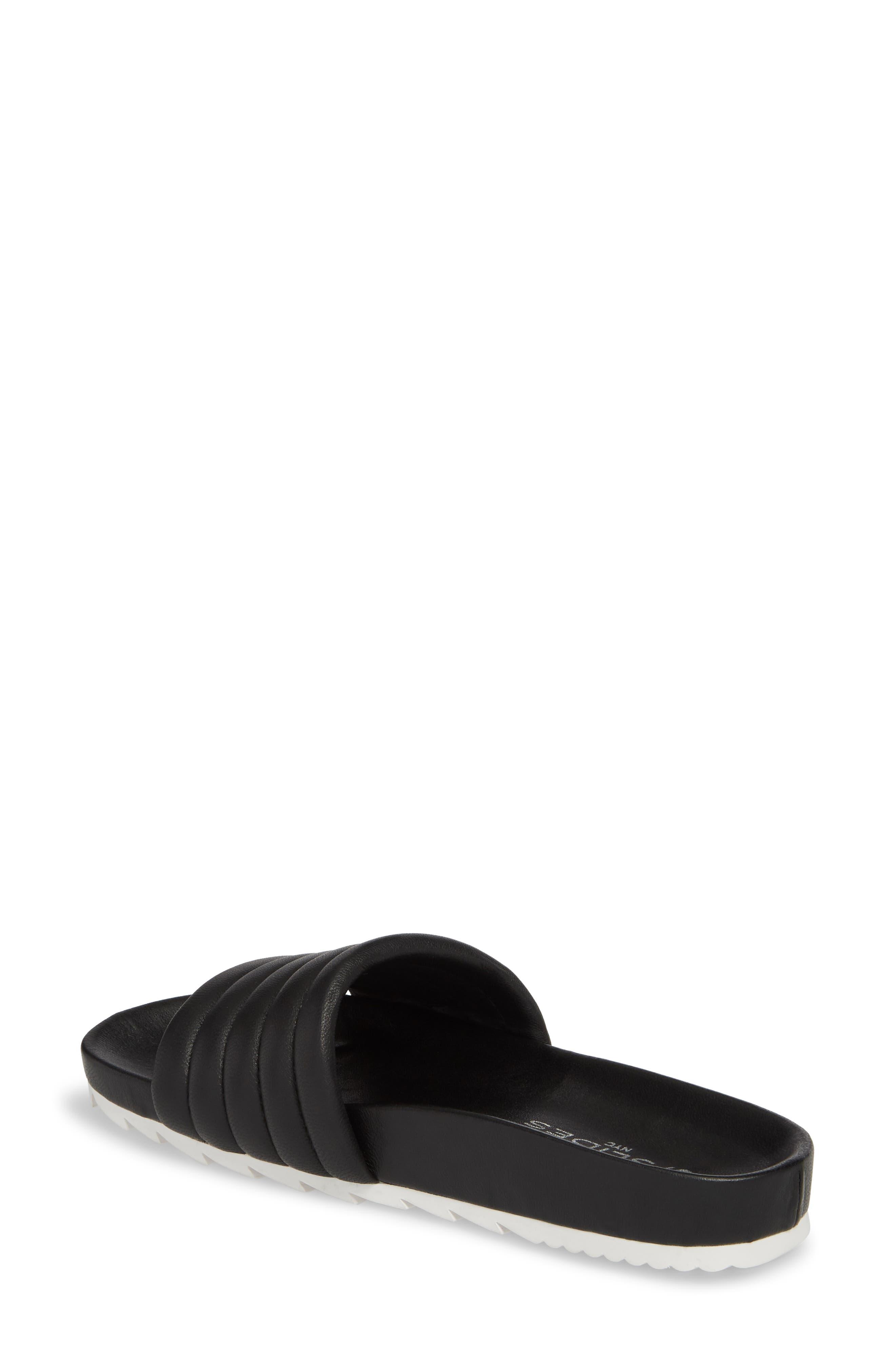 Eppie Slide Sandal,                             Alternate thumbnail 2, color,                             BLACK LEATHER