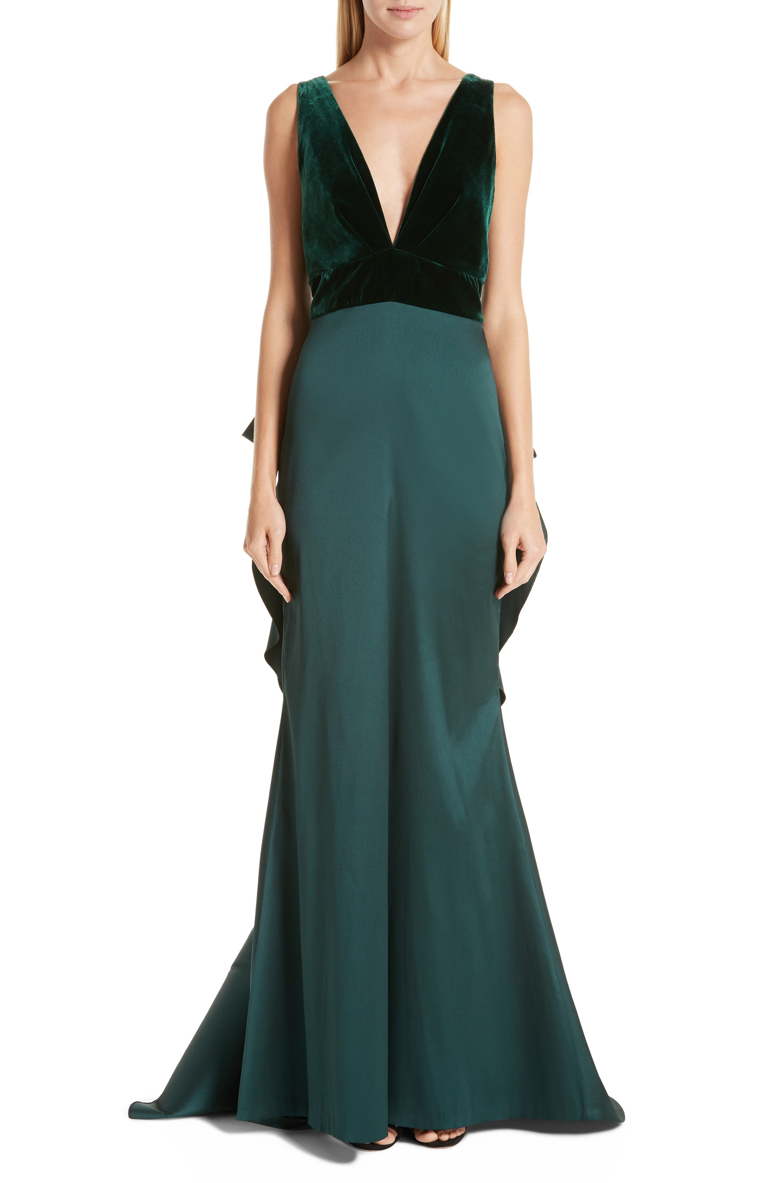 Topanga Velvet Bodice Bow Back Gown in Dark Green