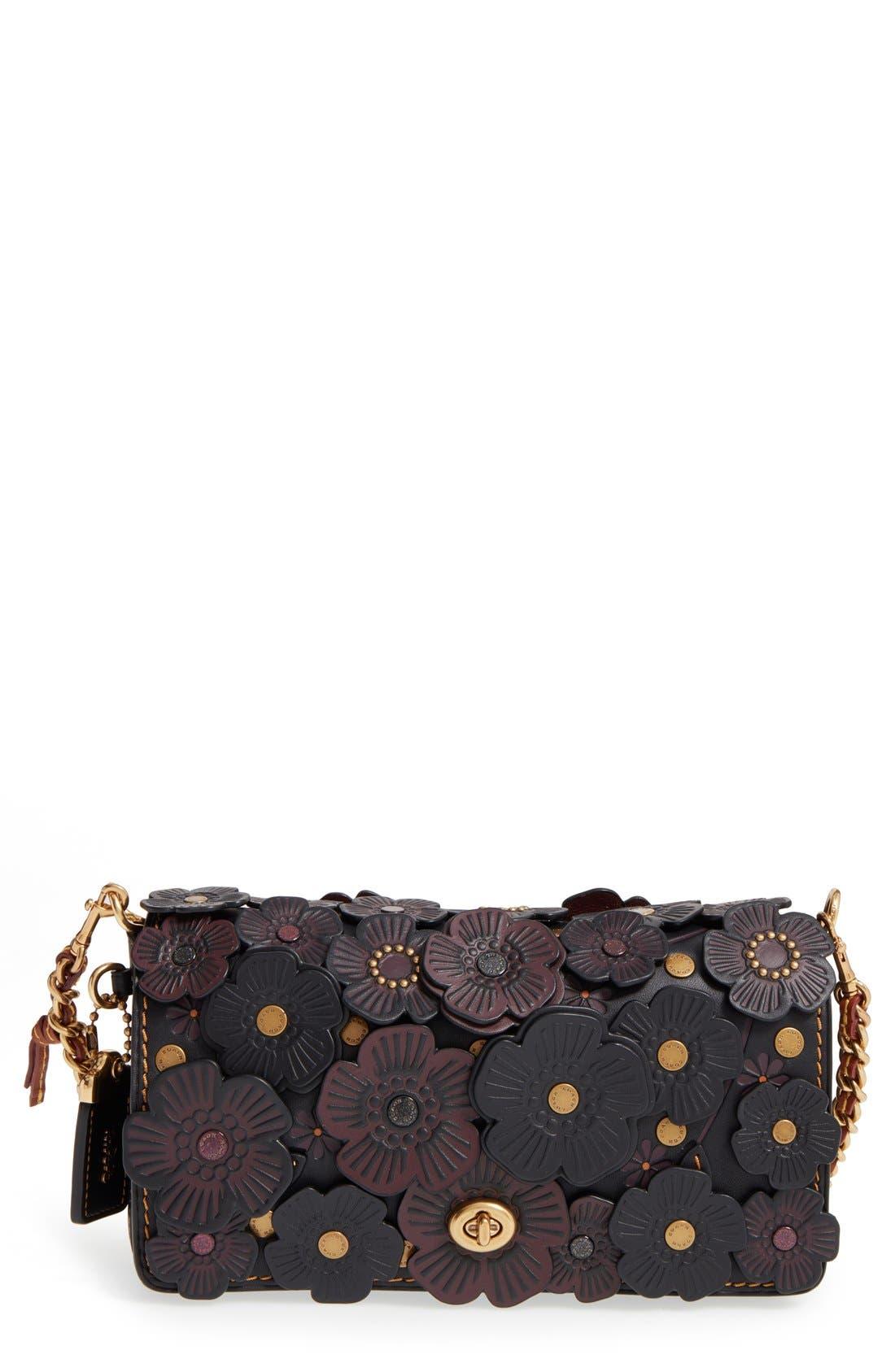 'Dinky' Flower Appliqué Leather Crossbody Bag,                             Main thumbnail 7, color,
