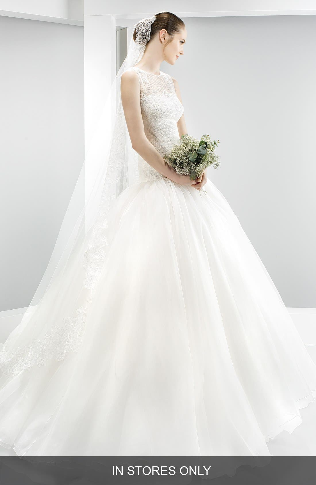 Embroidered Bodice Organza Drop Waist Gown,                         Main,                         color, 900
