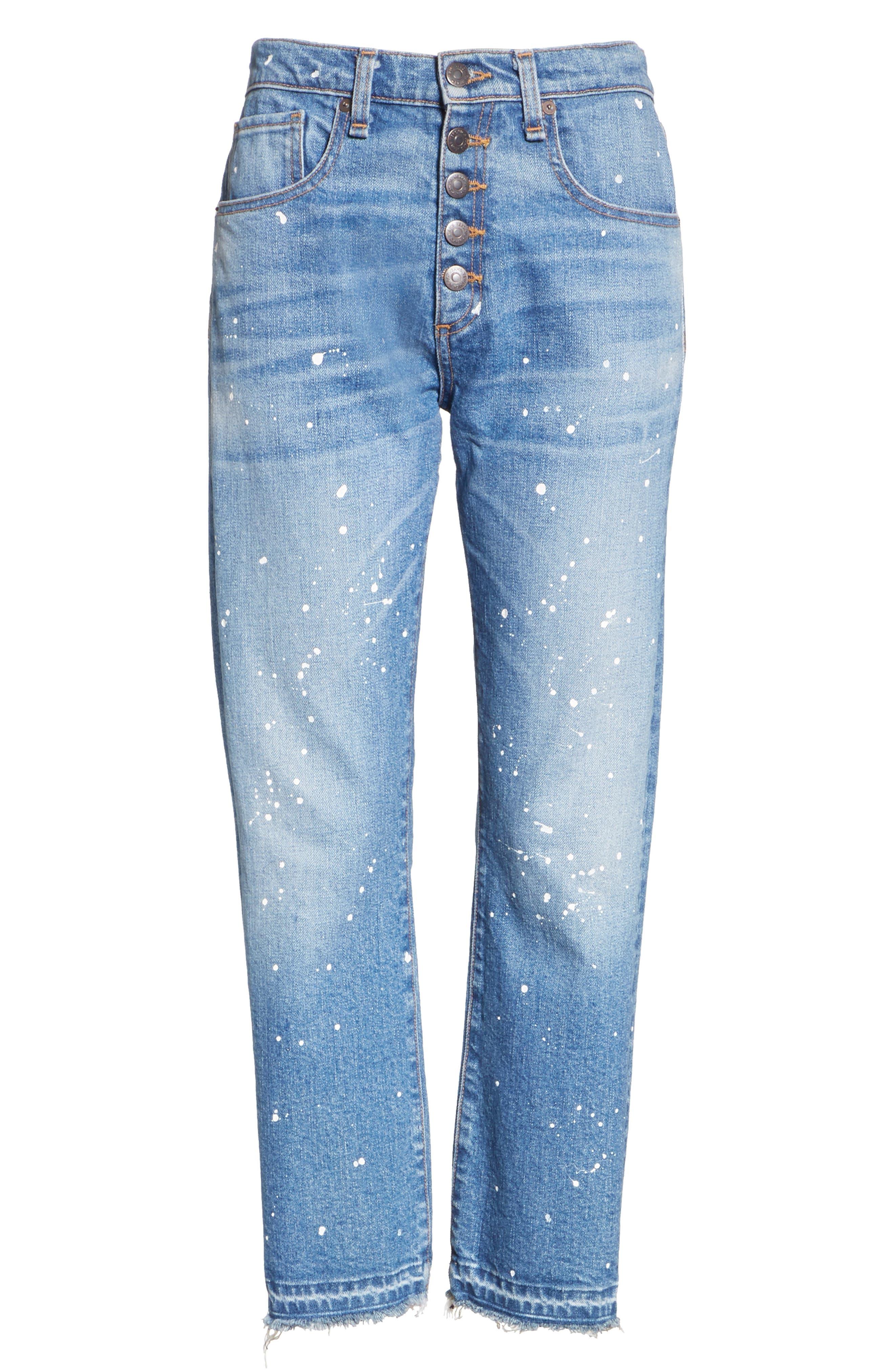 Ines Paint Splatter Crop Girlfriend Jeans,                             Alternate thumbnail 7, color,                             PIPELINE