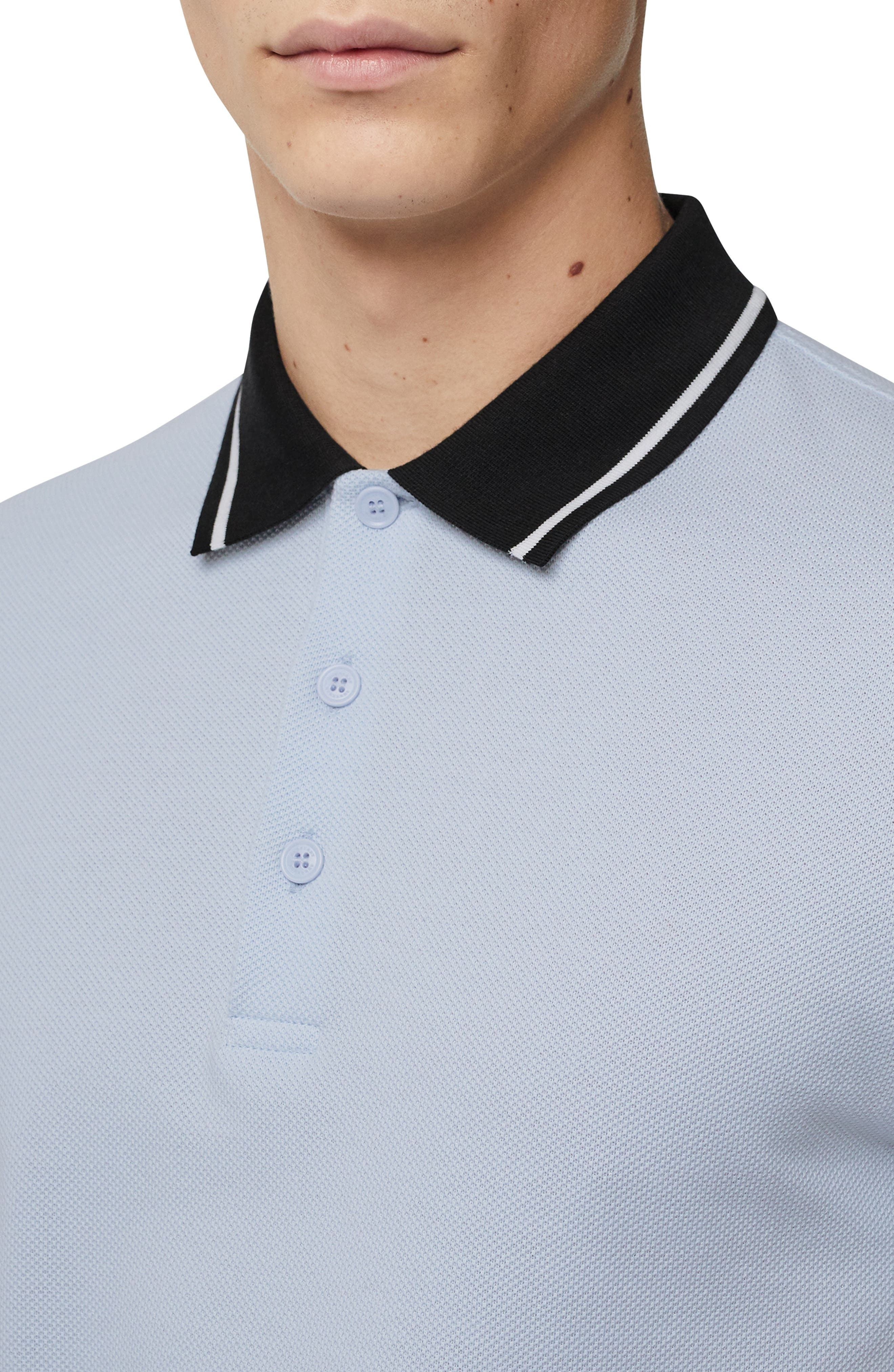 BURBERRY,                             Moreton Polo,                             Alternate thumbnail 3, color,                             LIGHT INDIGO