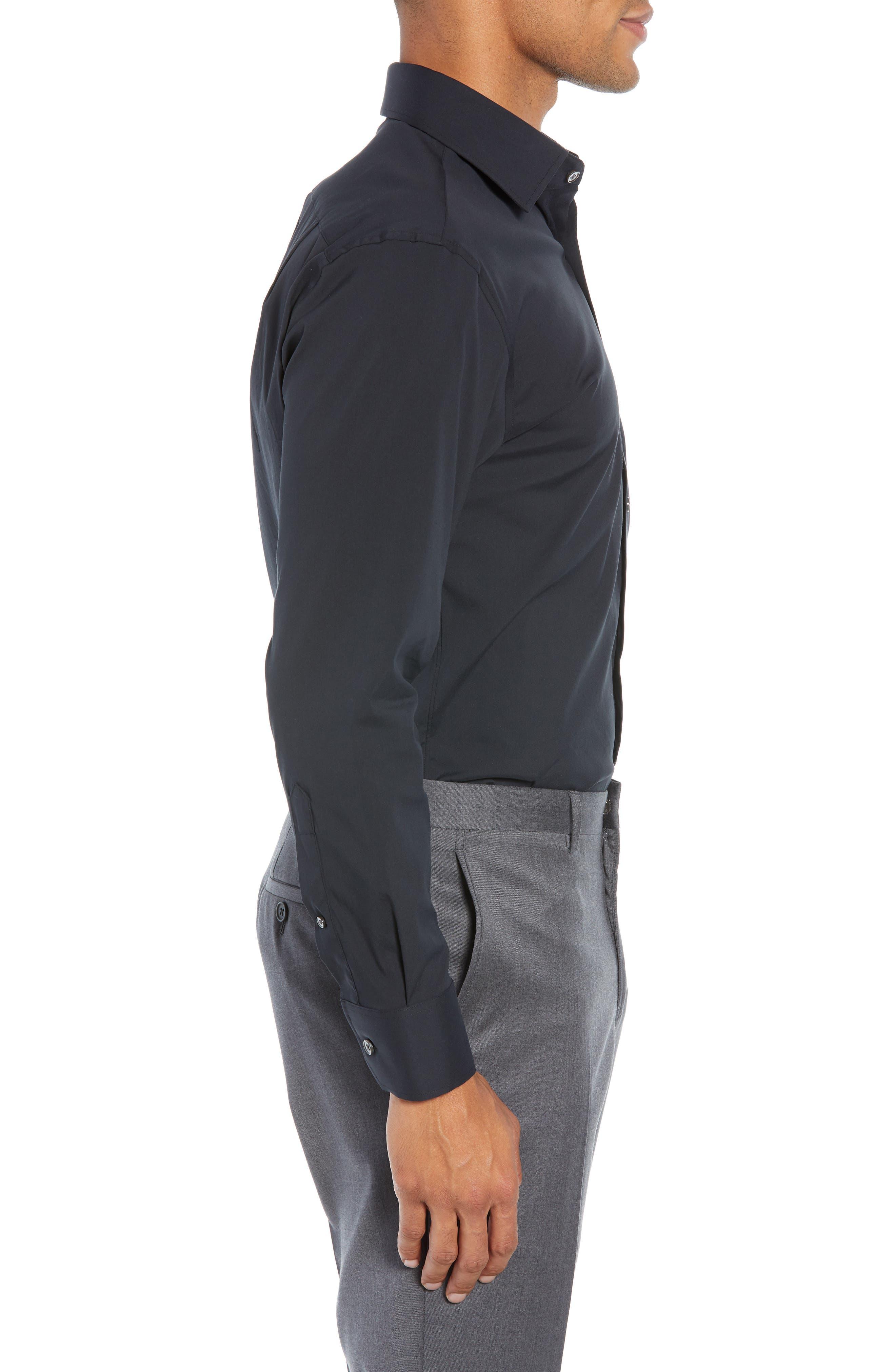 Jetsetter Slim Fit Solid Dress Shirt,                             Alternate thumbnail 4, color,                             BLACK