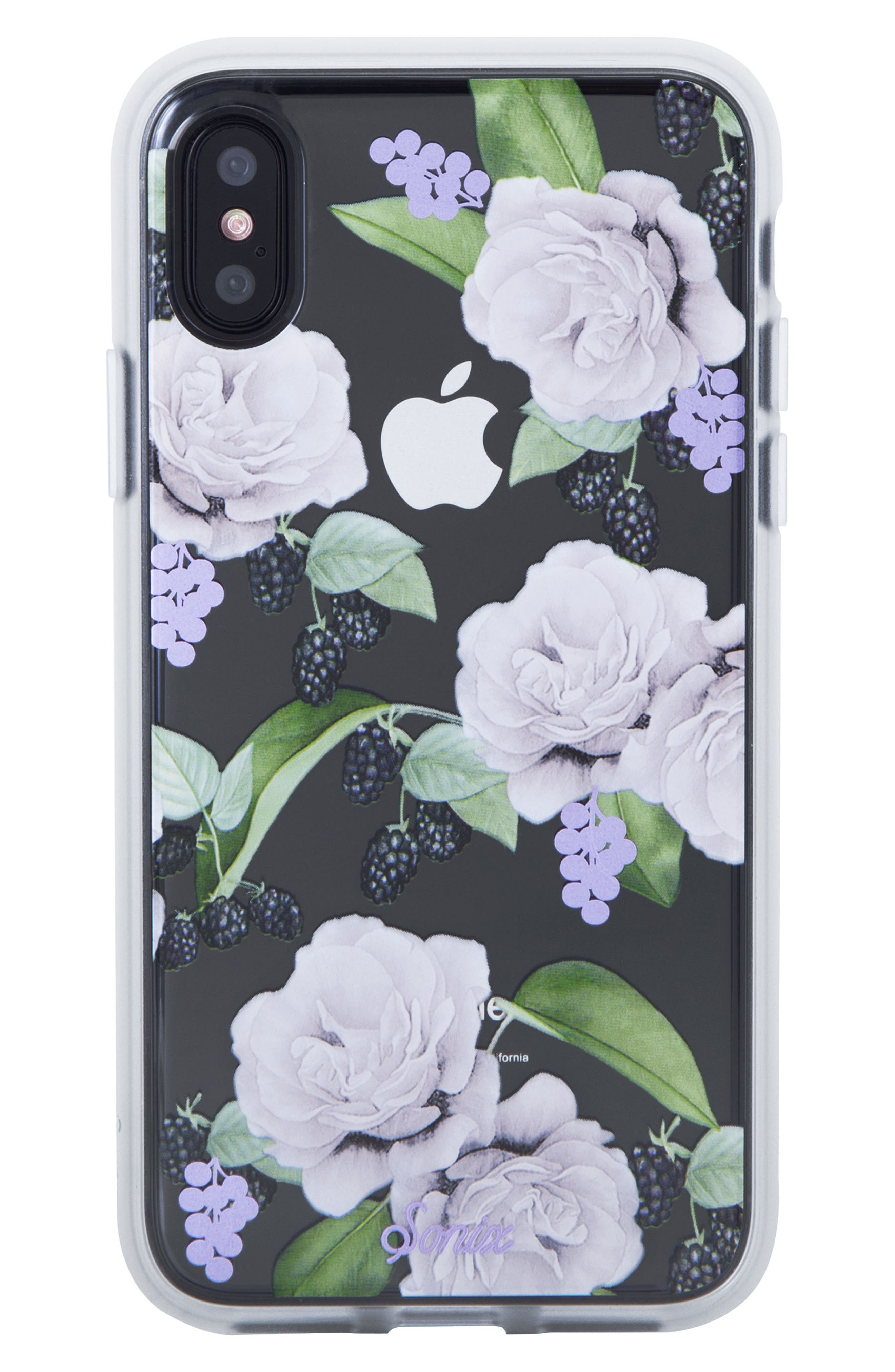 Floral Berry iPhone X & Xs Case,                             Main thumbnail 1, color,                             WHITE/ LILAC