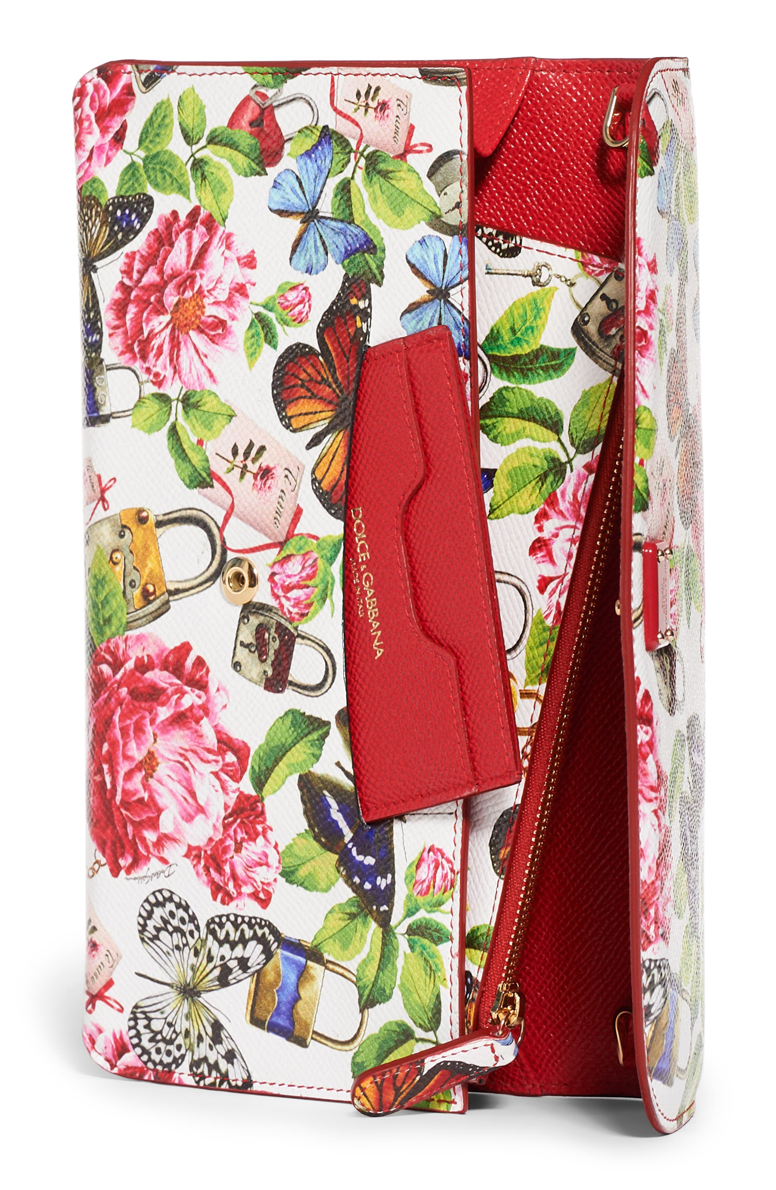 Floral Print Leather Wallet on a Chain,                             Alternate thumbnail 3, color,