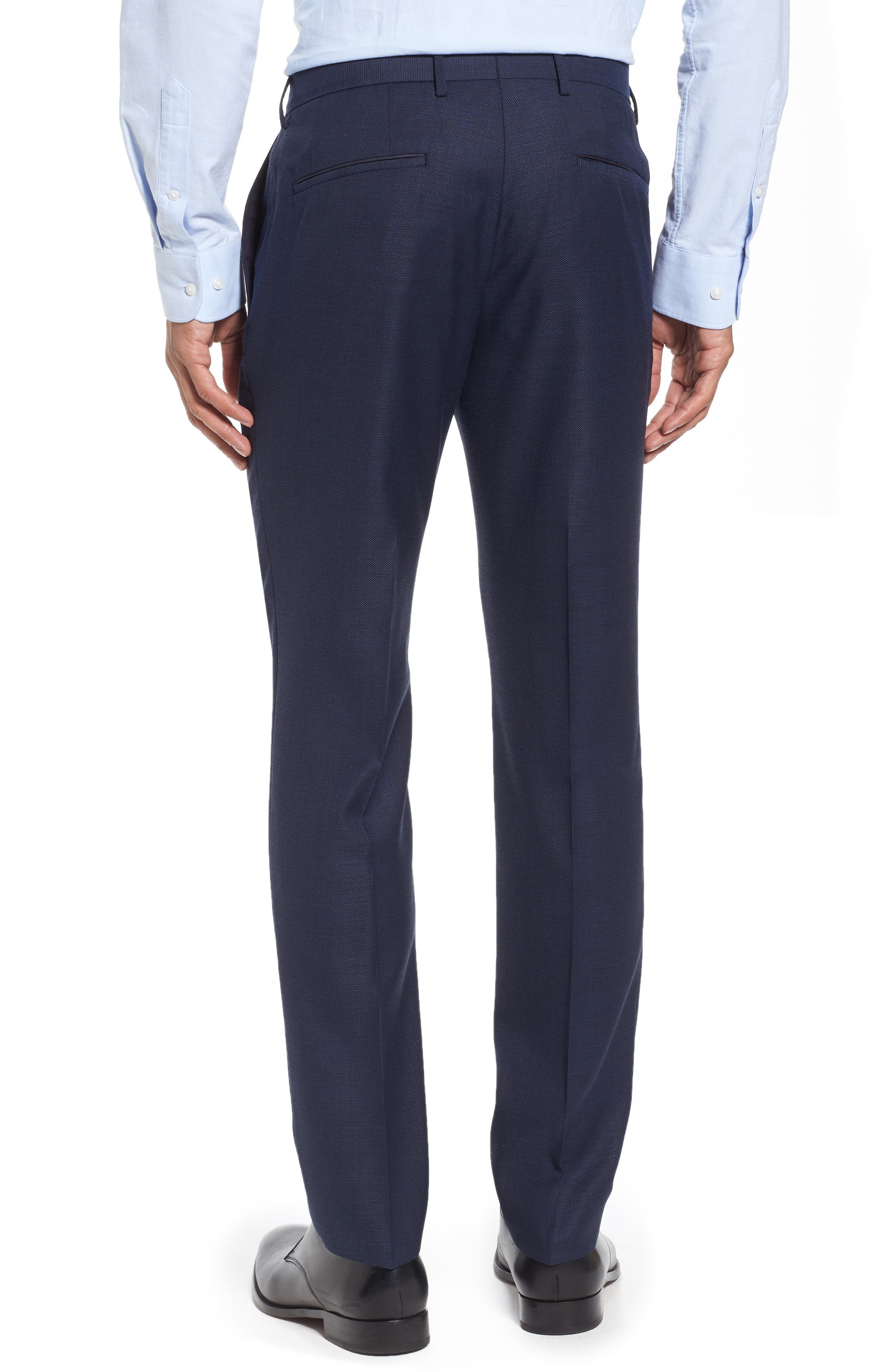 Blake Flat Front Solid Wool Trousers,                             Alternate thumbnail 3, color,                             401
