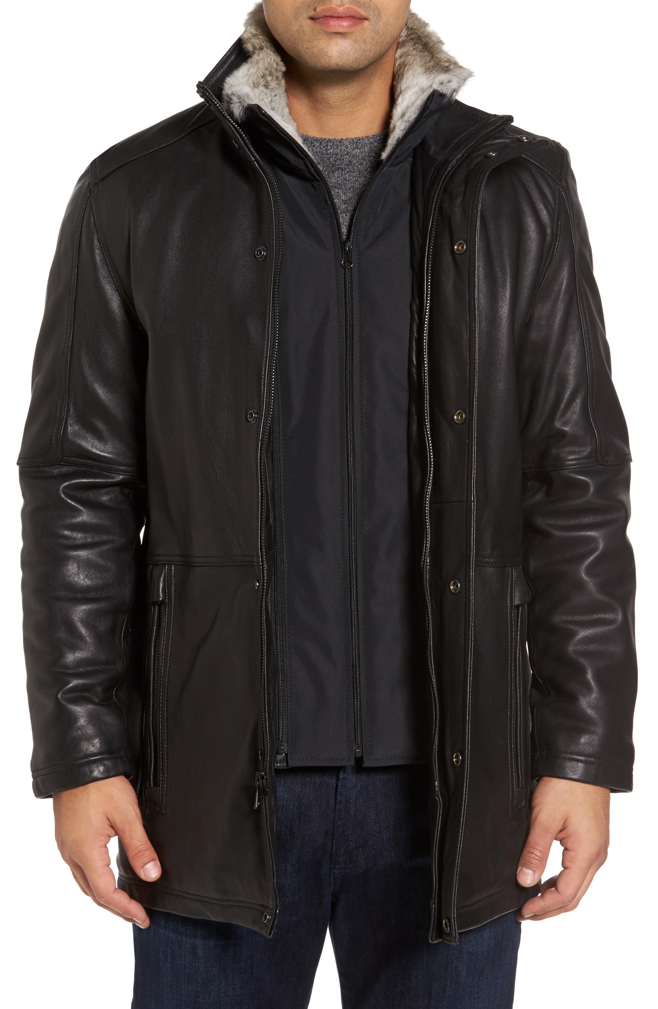 Middlebury Leather Car Coat with Genuine Rabbit Fur Trim,                         Main,                         color, 001
