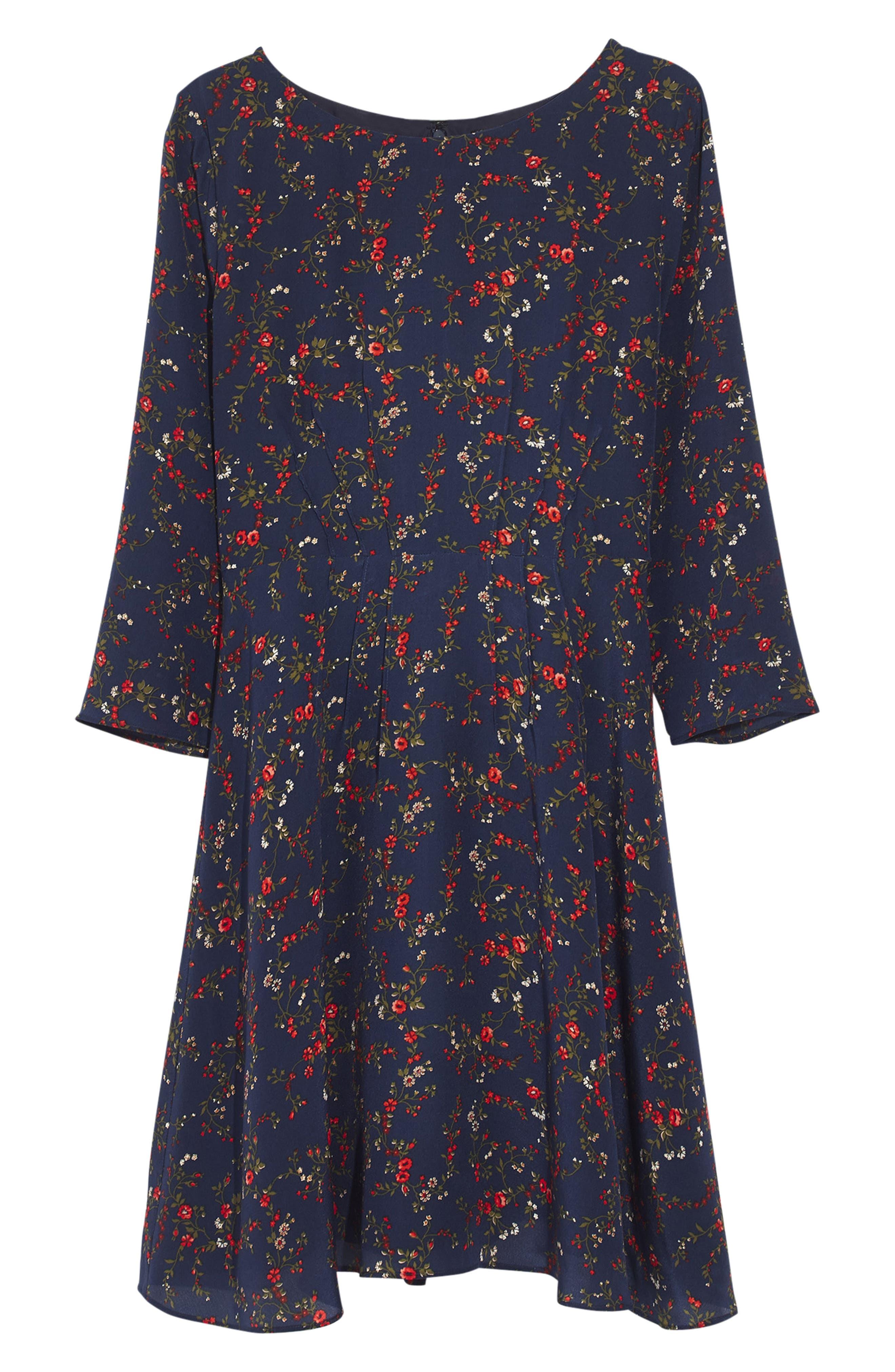 Boat Neck Pintuck Silk Dress,                             Alternate thumbnail 3, color,                             WHISPER MOONLESS NIGHT