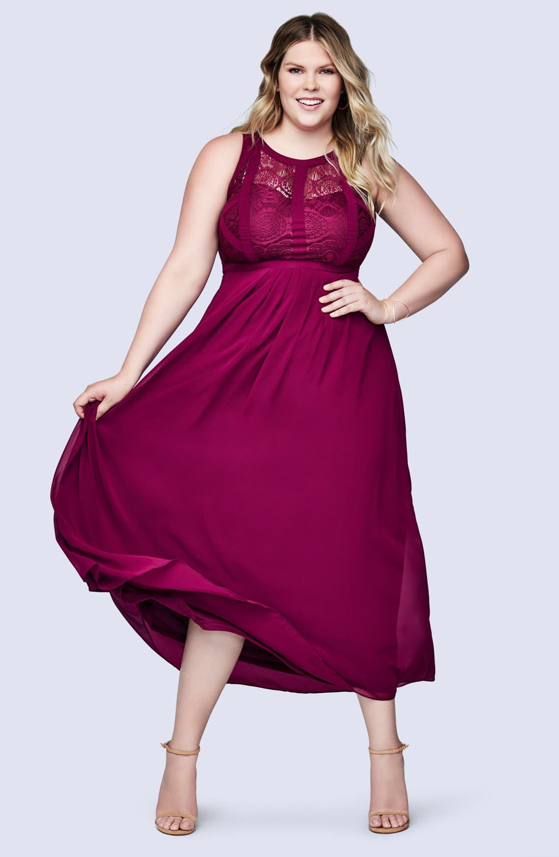 Paneled Lace Bodice Gown,                             Alternate thumbnail 18, color,