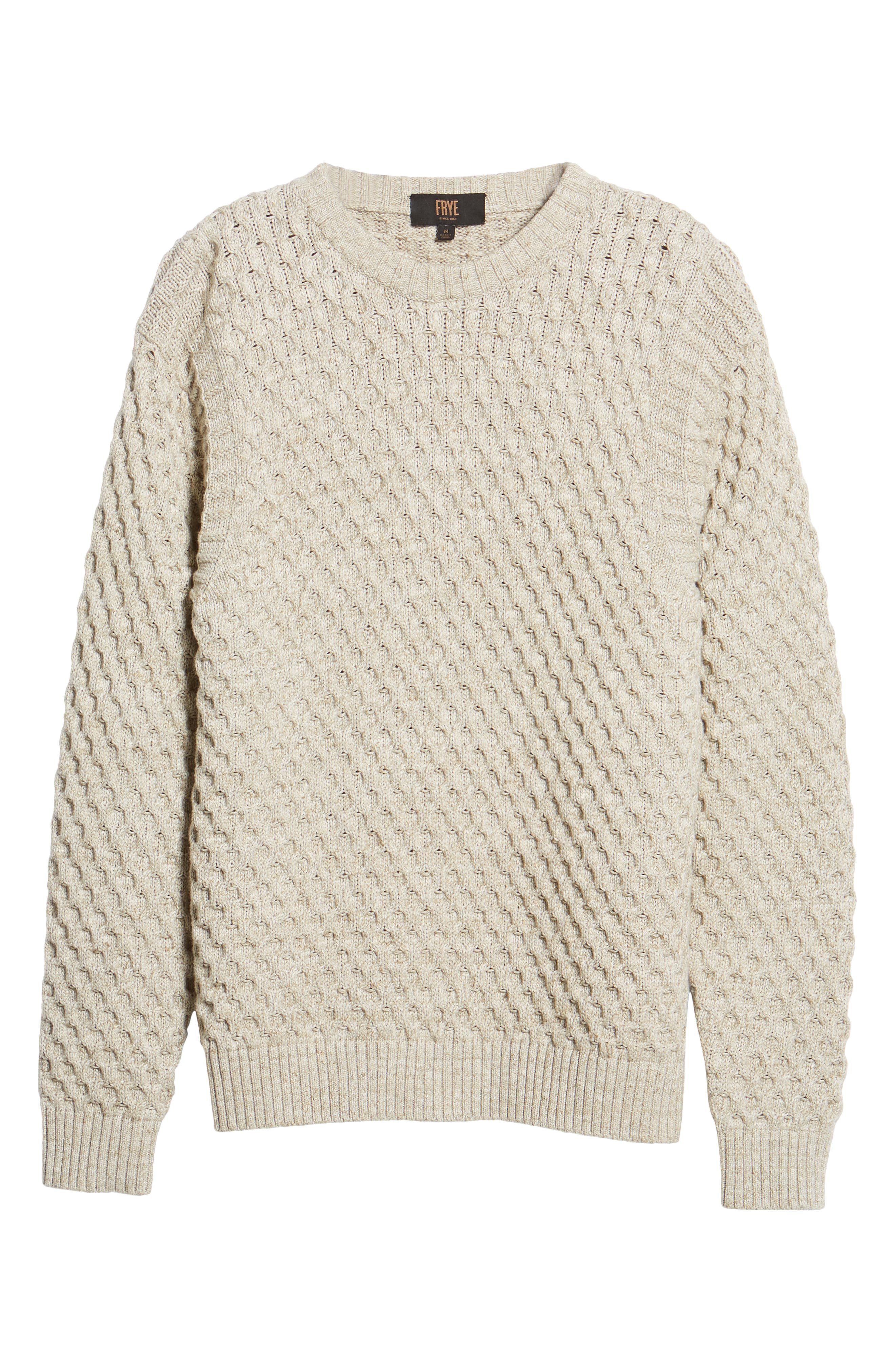 Ethan Fisherman Cable Sweater,                             Alternate thumbnail 6, color,                             CREAM