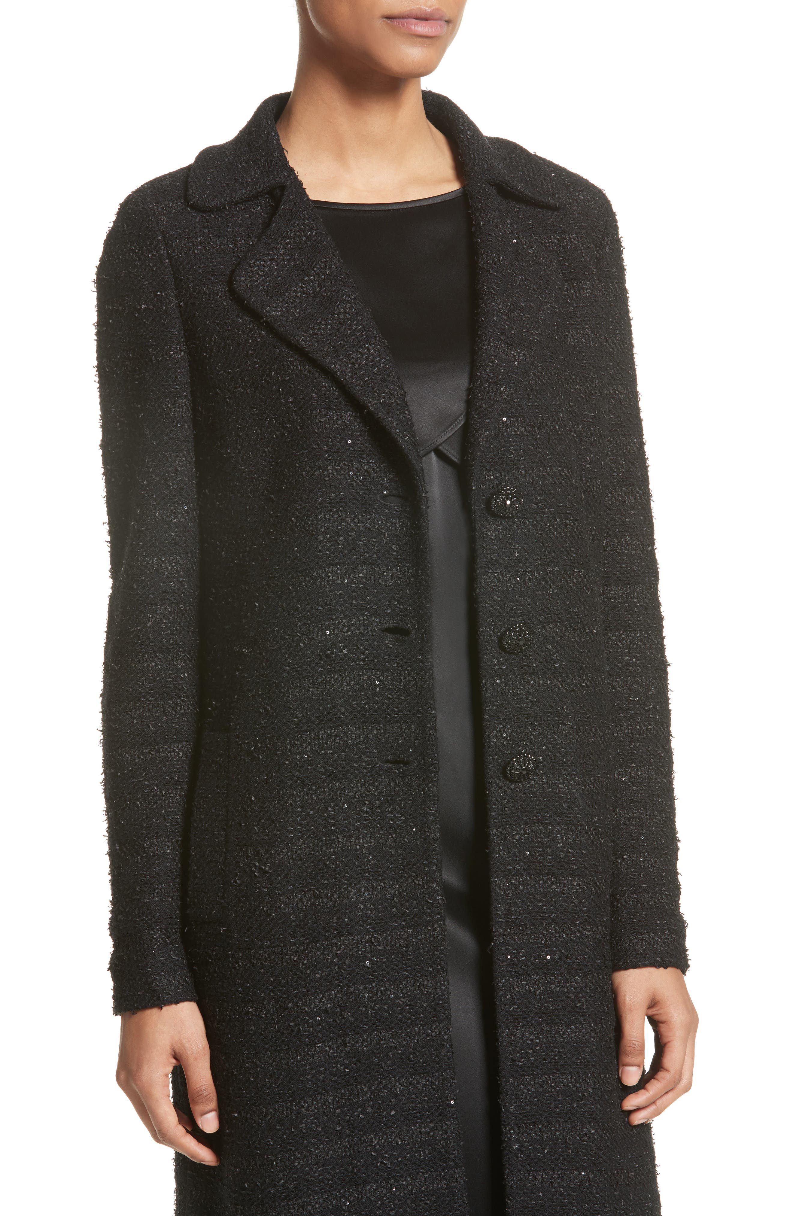 Sequin Knit Topper with Detachable Genuine Rabbit Fur Collar,                             Alternate thumbnail 2, color,                             001