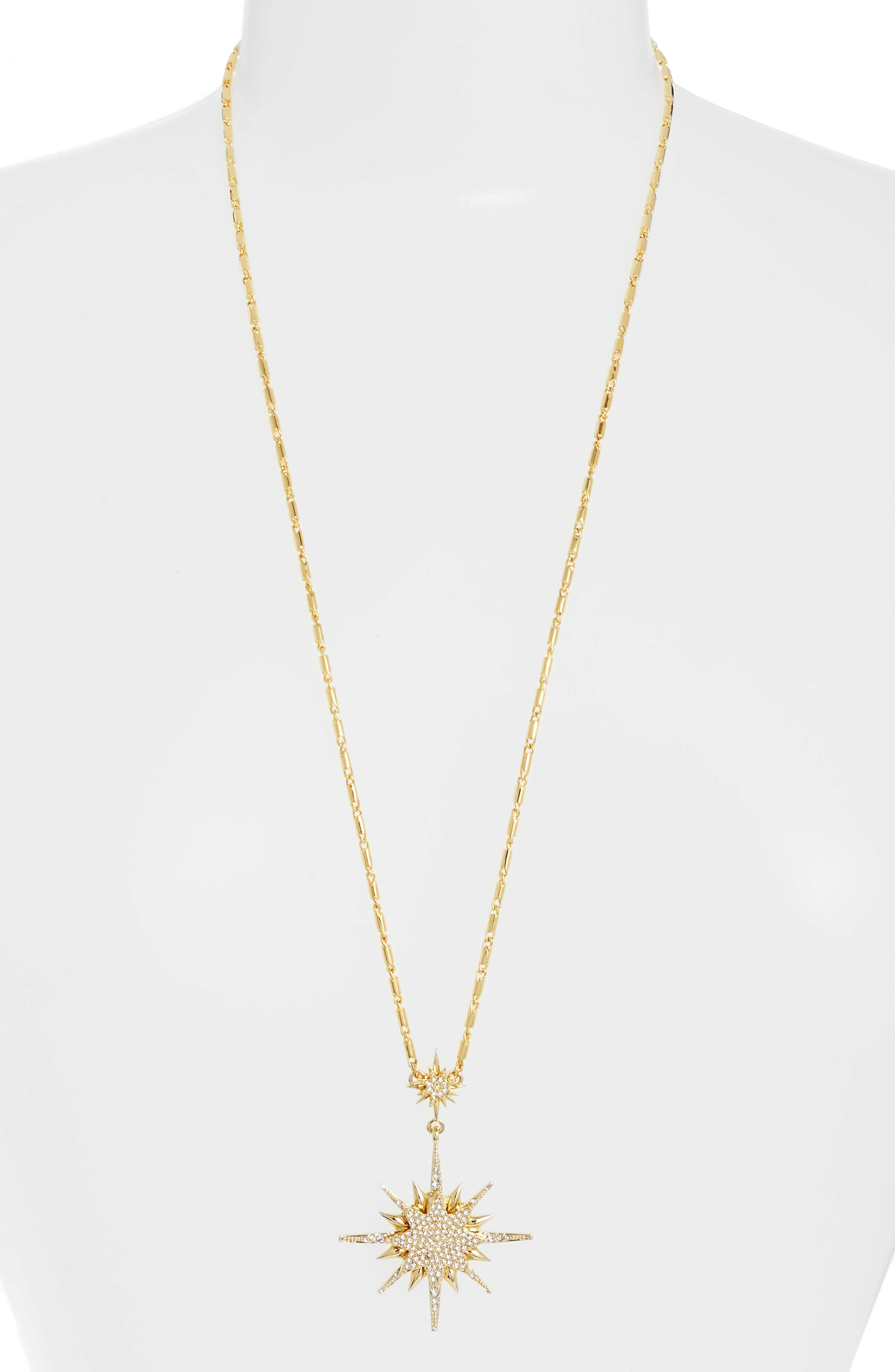 Crystal Starburst Pendant Necklace,                         Main,                         color, GOLD
