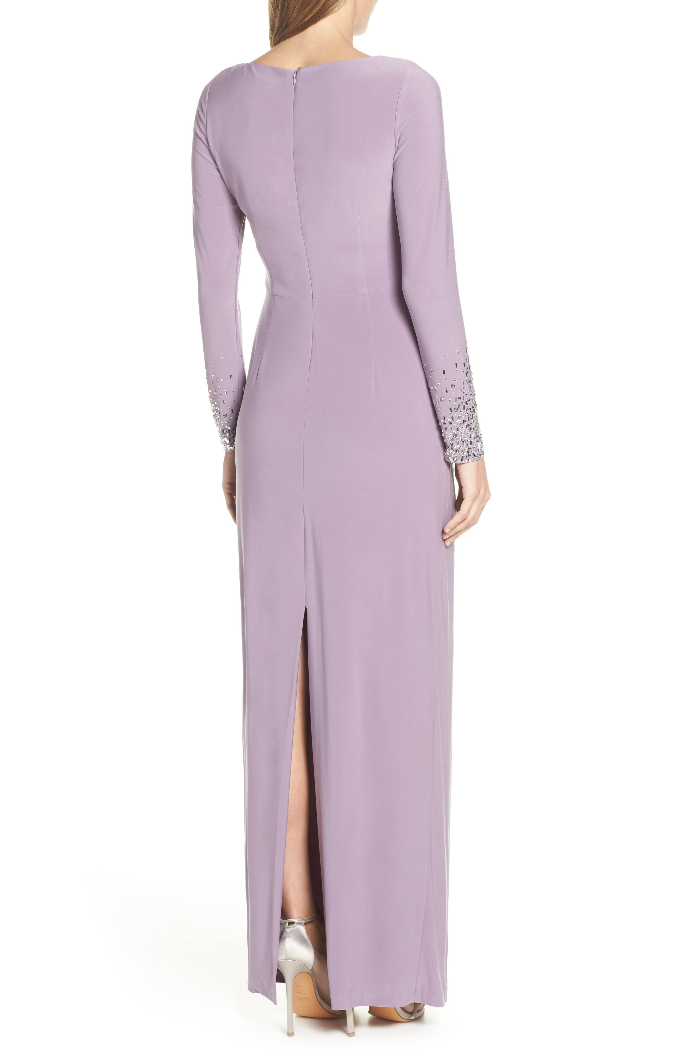 VINCE CAMUTO,                             Embellished Sleeve Ruched Evening Dress,                             Alternate thumbnail 2, color,                             LILAC