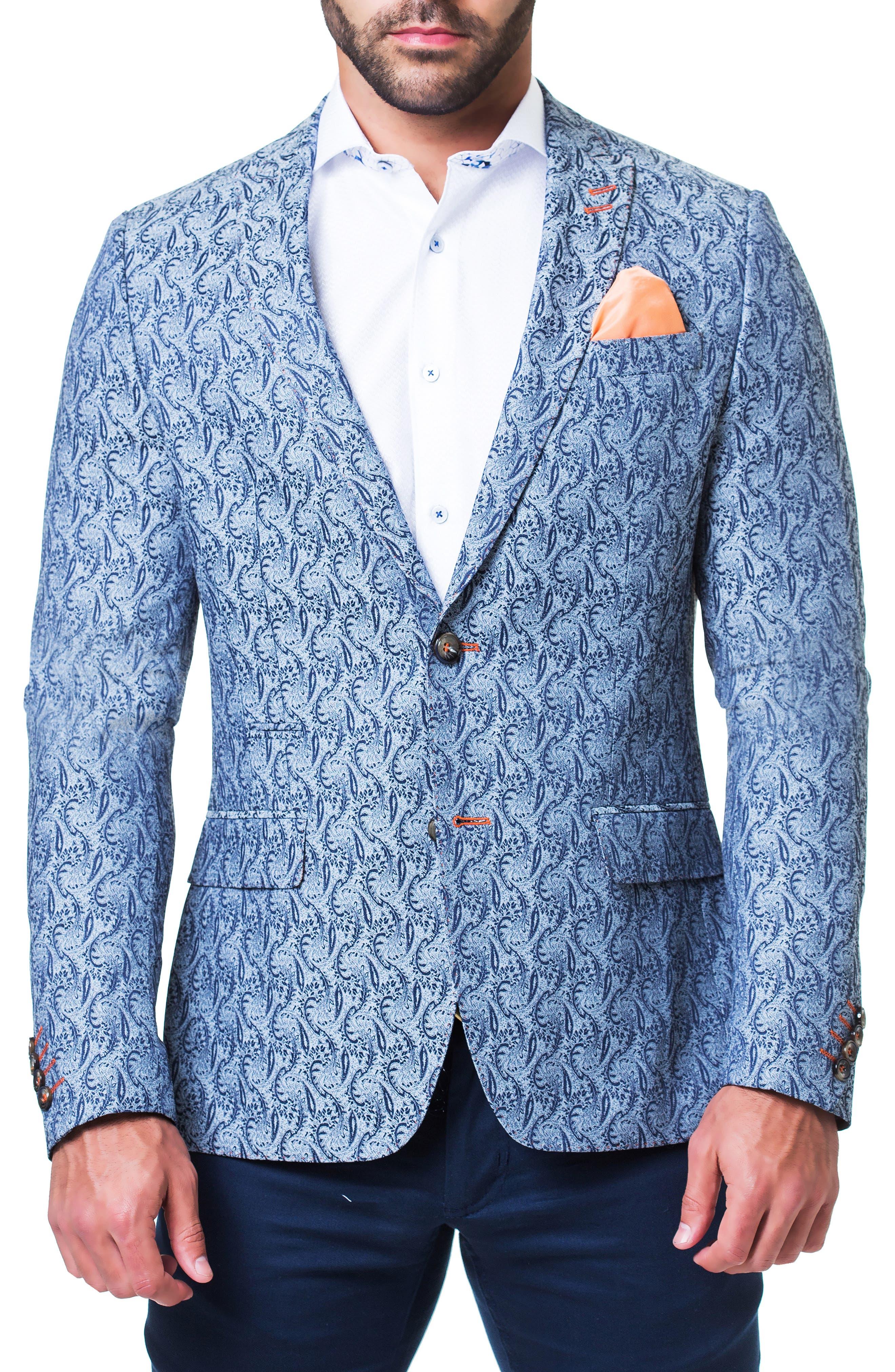 MACEOO Paisley Sport Coat in Grey