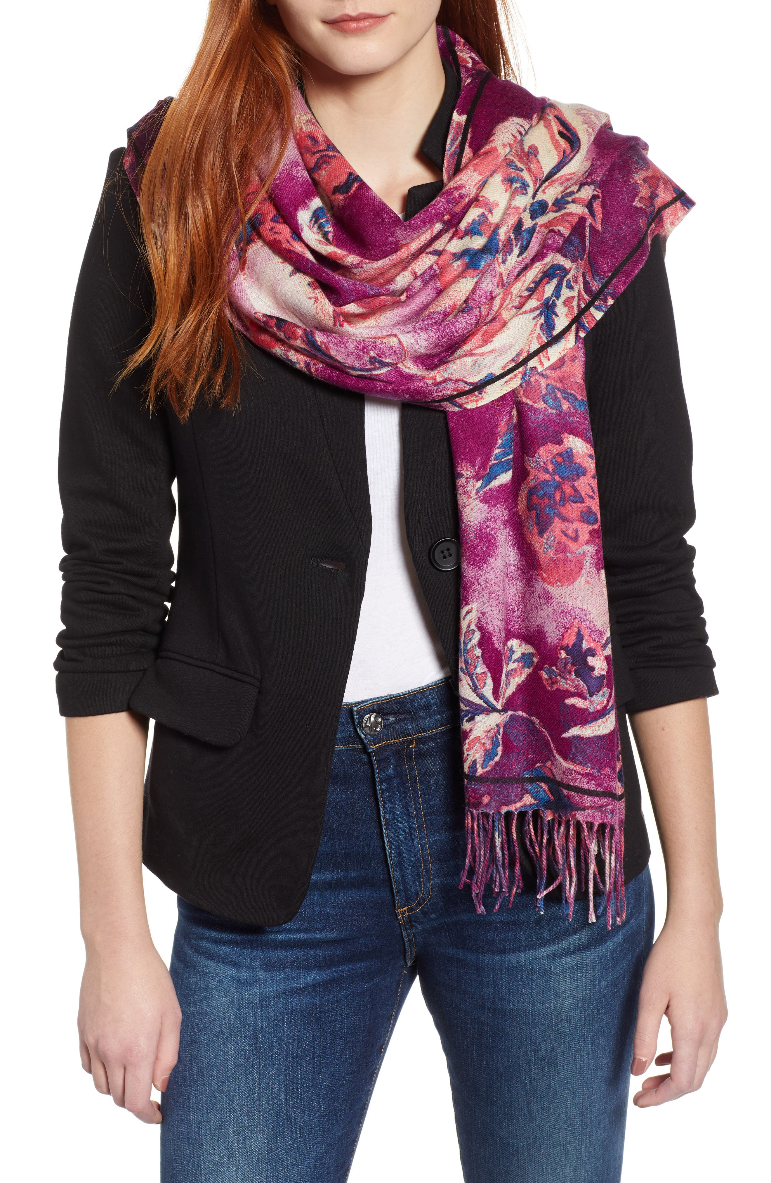 Tissue Print Wool & Cashmere Wrap Scarf,                             Main thumbnail 19, color,